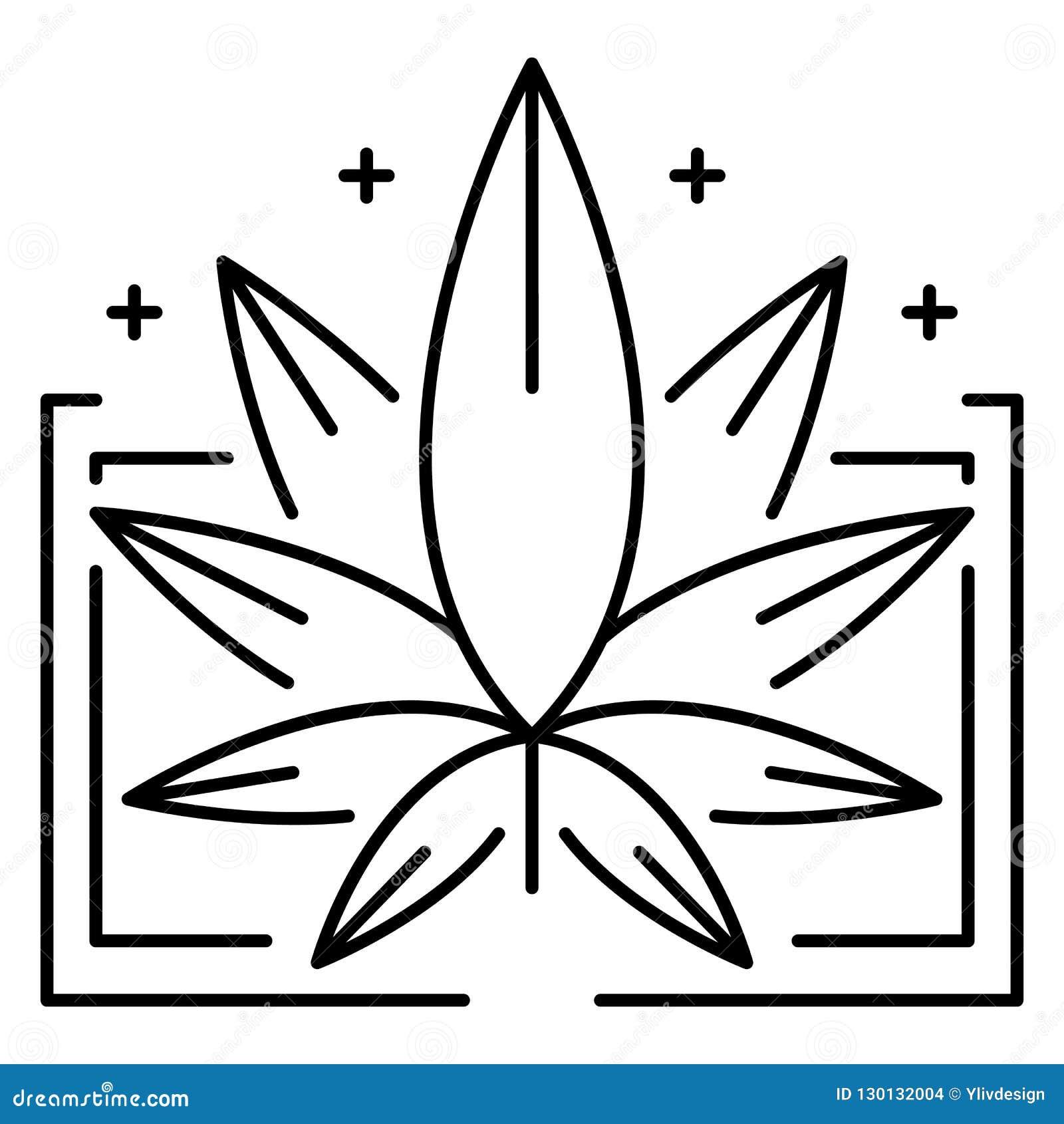 Logotipo médico da folha da marijuana, estilo do esboço