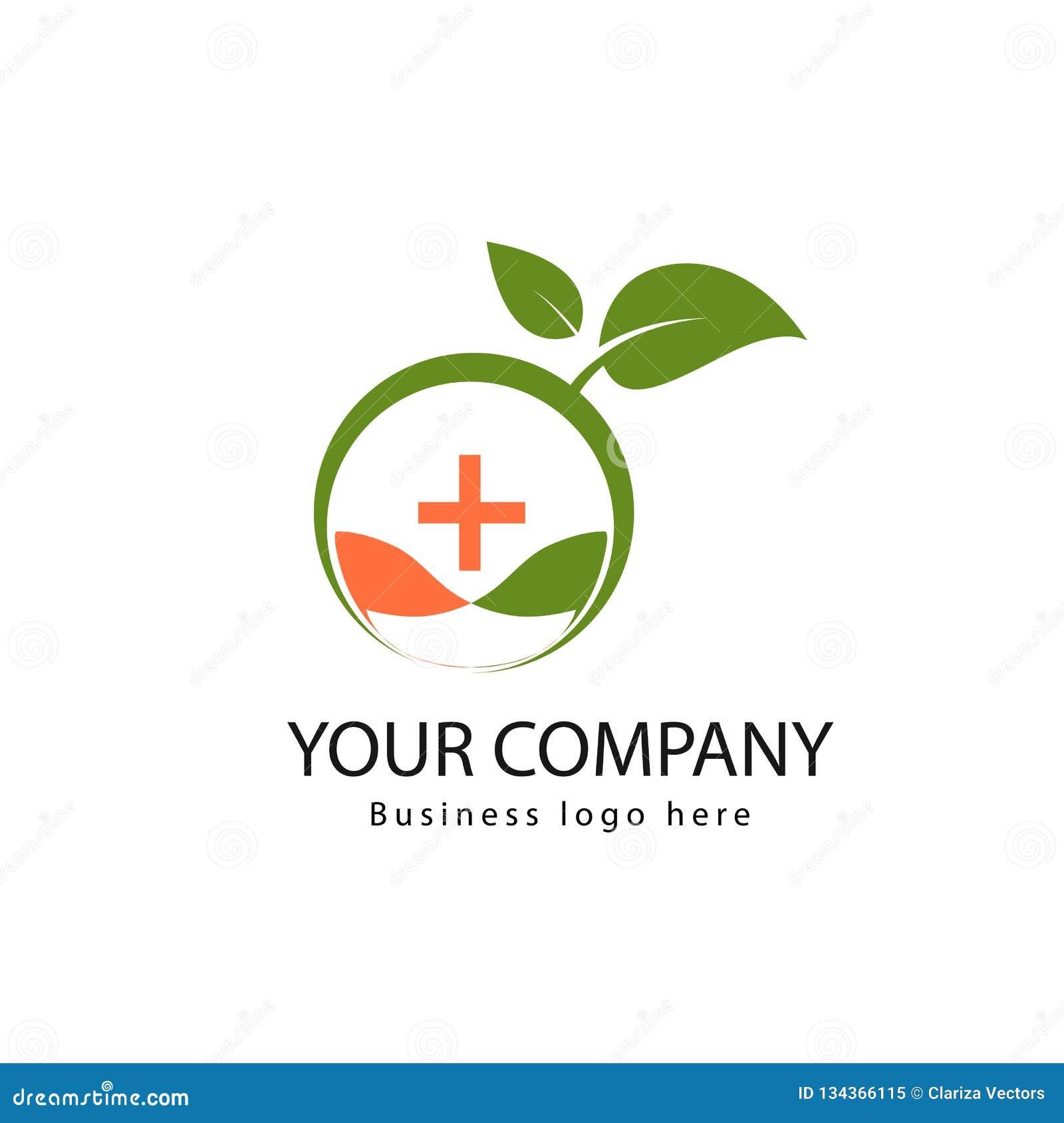 Logotipo médico orgánico simple con las hojas