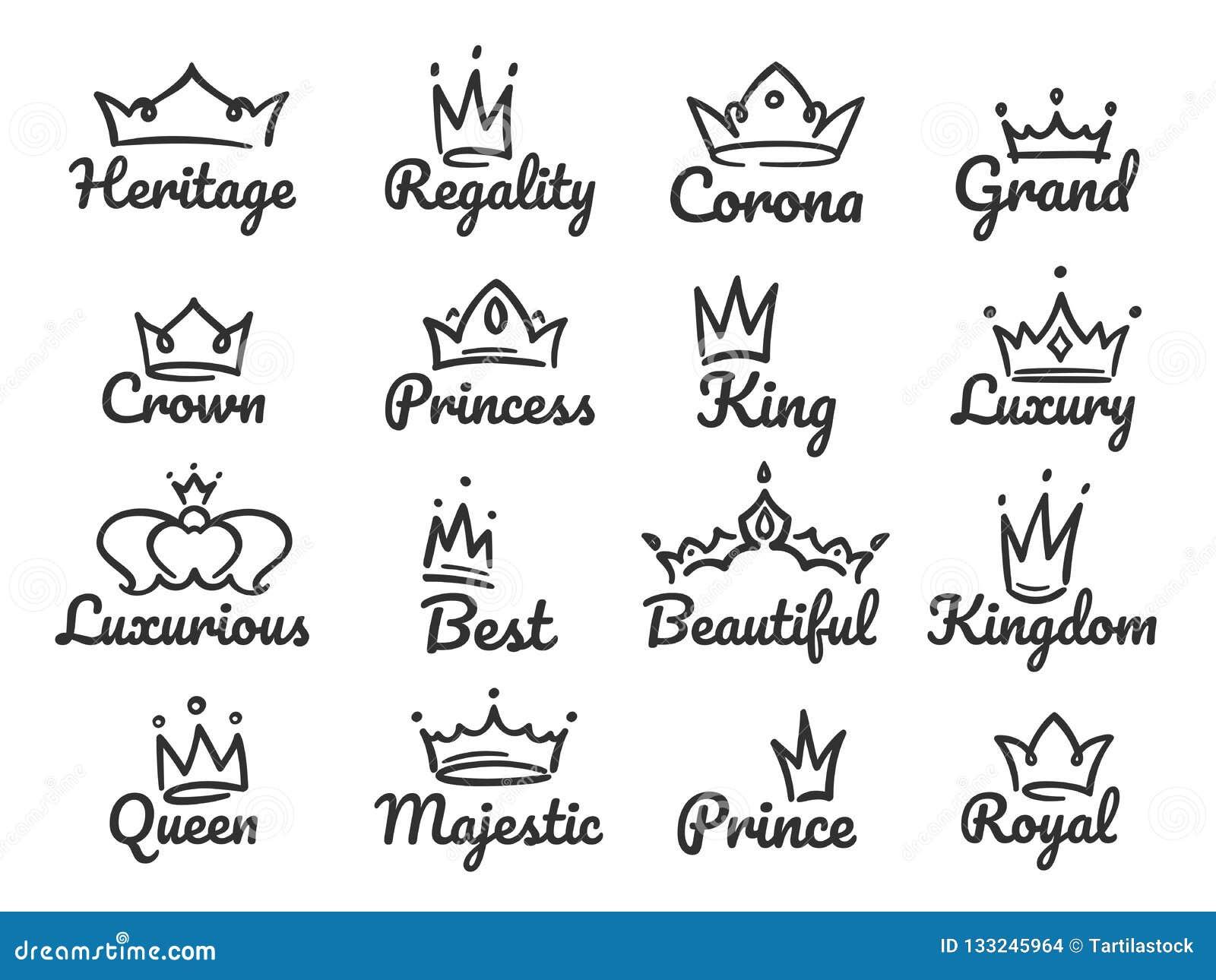 Logotipo majestuoso de la corona Príncipe y princesa del bosquejo, muestra de la reina de la mano o sistema exhausta del ejemplo