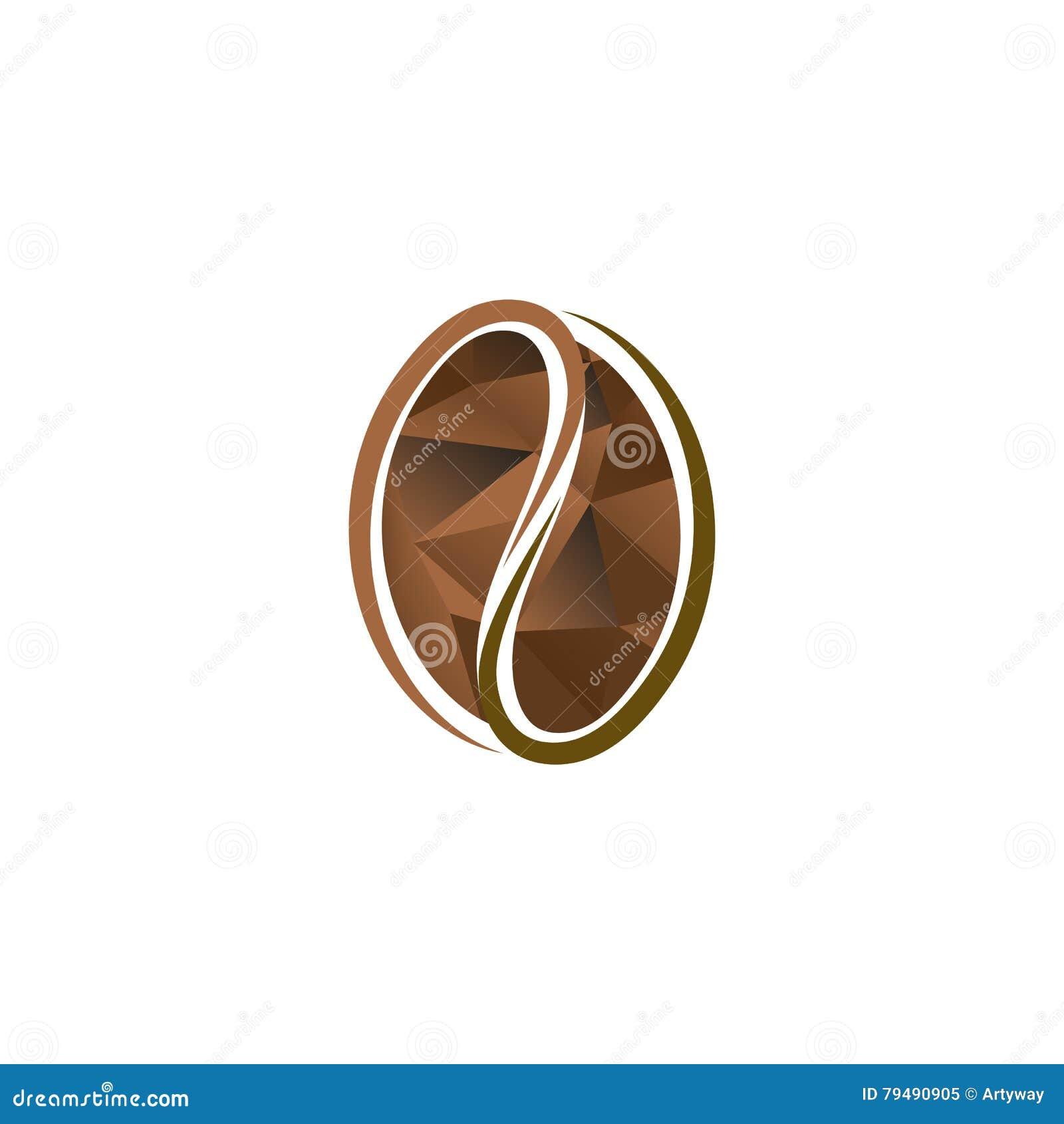 Logotipo marrón abstracto aislado del grano de café del color Logotipo enérgico de la bebida Icono natural de la semilla Ejemplo