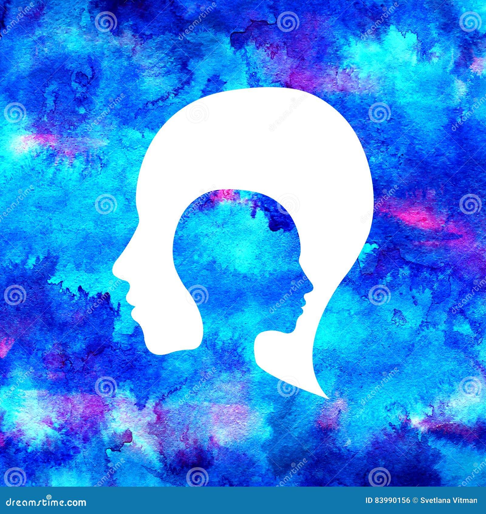 Logotipo moderno da cabeça da aquarela da psicologia Estilo creativo Logotype dentro Conceito de projeto Empresa do tipo Cor bril