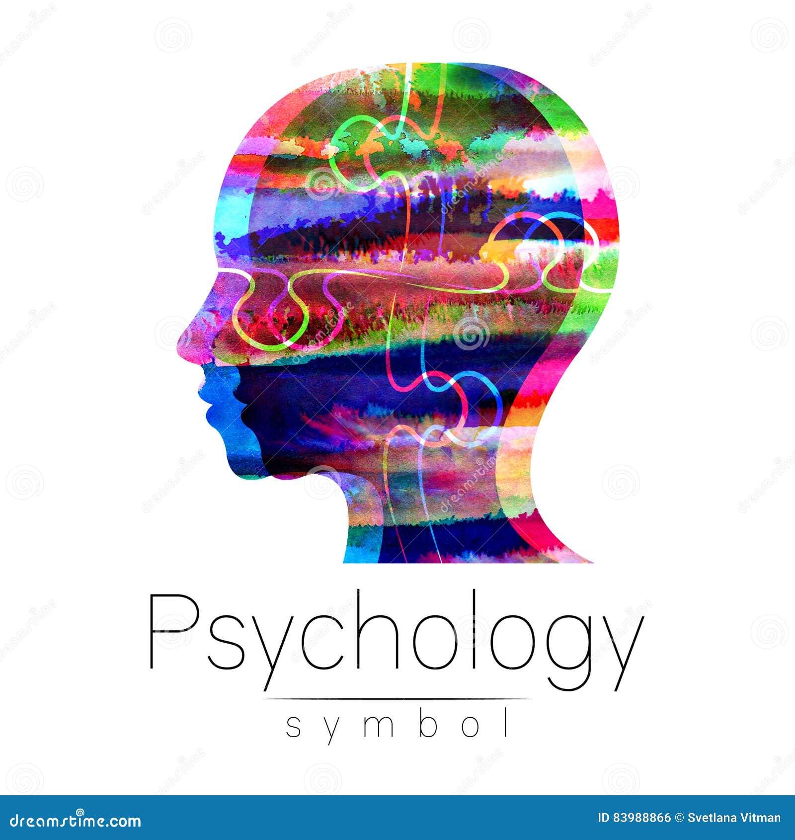 Logotipo moderno da cabeça da aquarela da psicologia Ser humano do perfil Estilo creativo Logotype dentro Conceito de projeto Emp