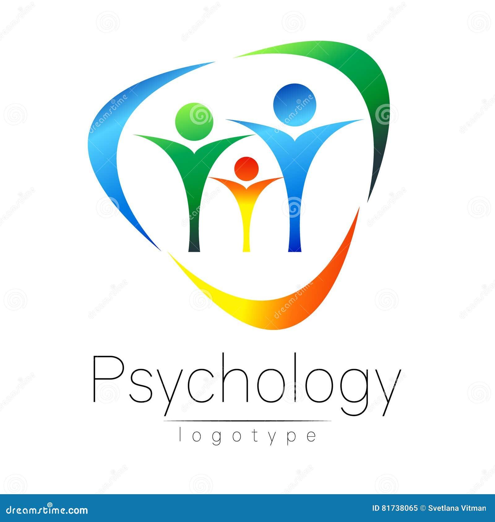 Logotipo moderno da família da psicologia Povos em um círculo Estilo creativo Logotype no vetor Conceito de projeto Empresa do ti