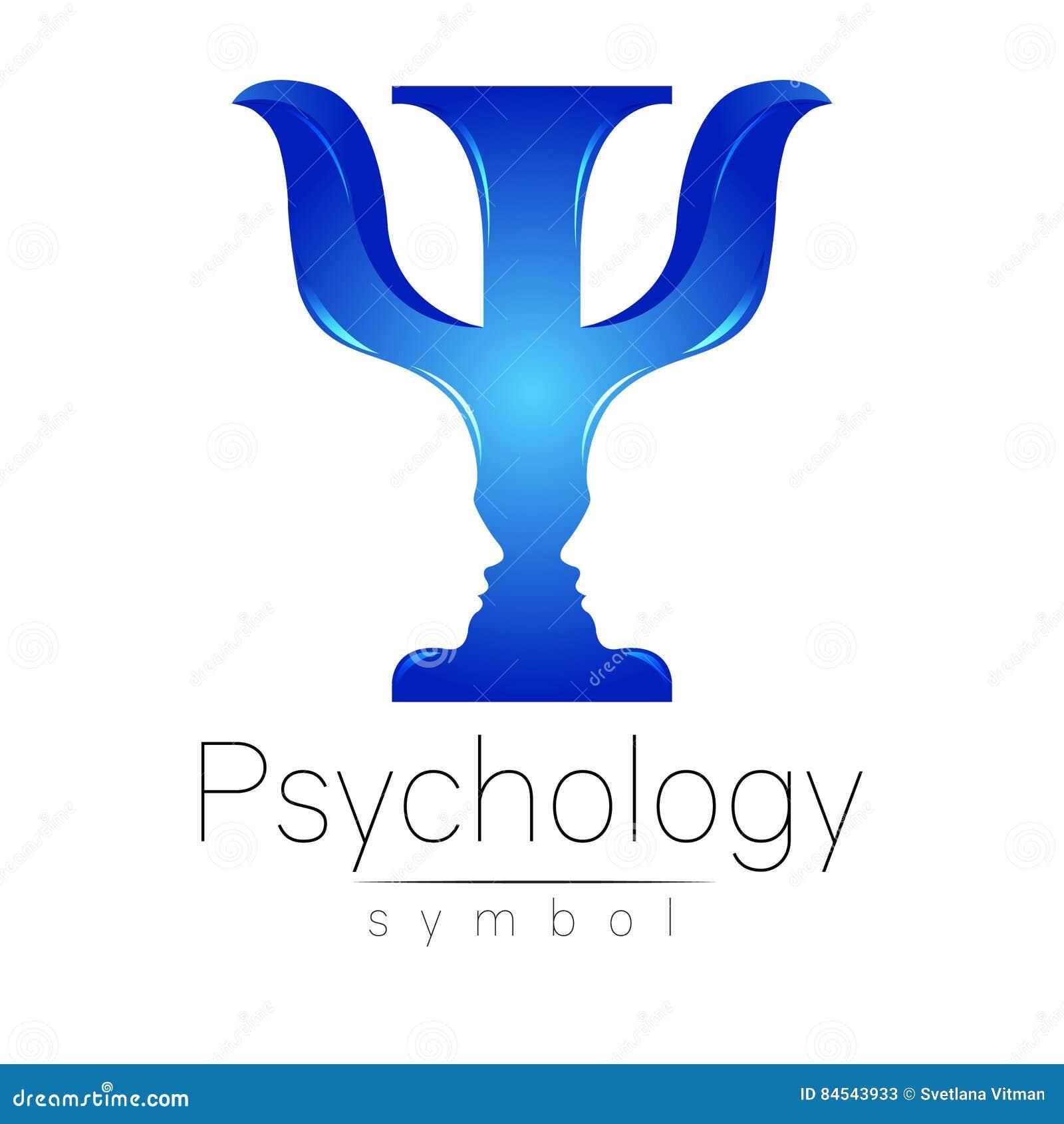 Logotipo moderno da psicologia psi Estilo creativo Logotype no vetor Conceito de projeto Empresa do tipo Letra azul da cor sobre