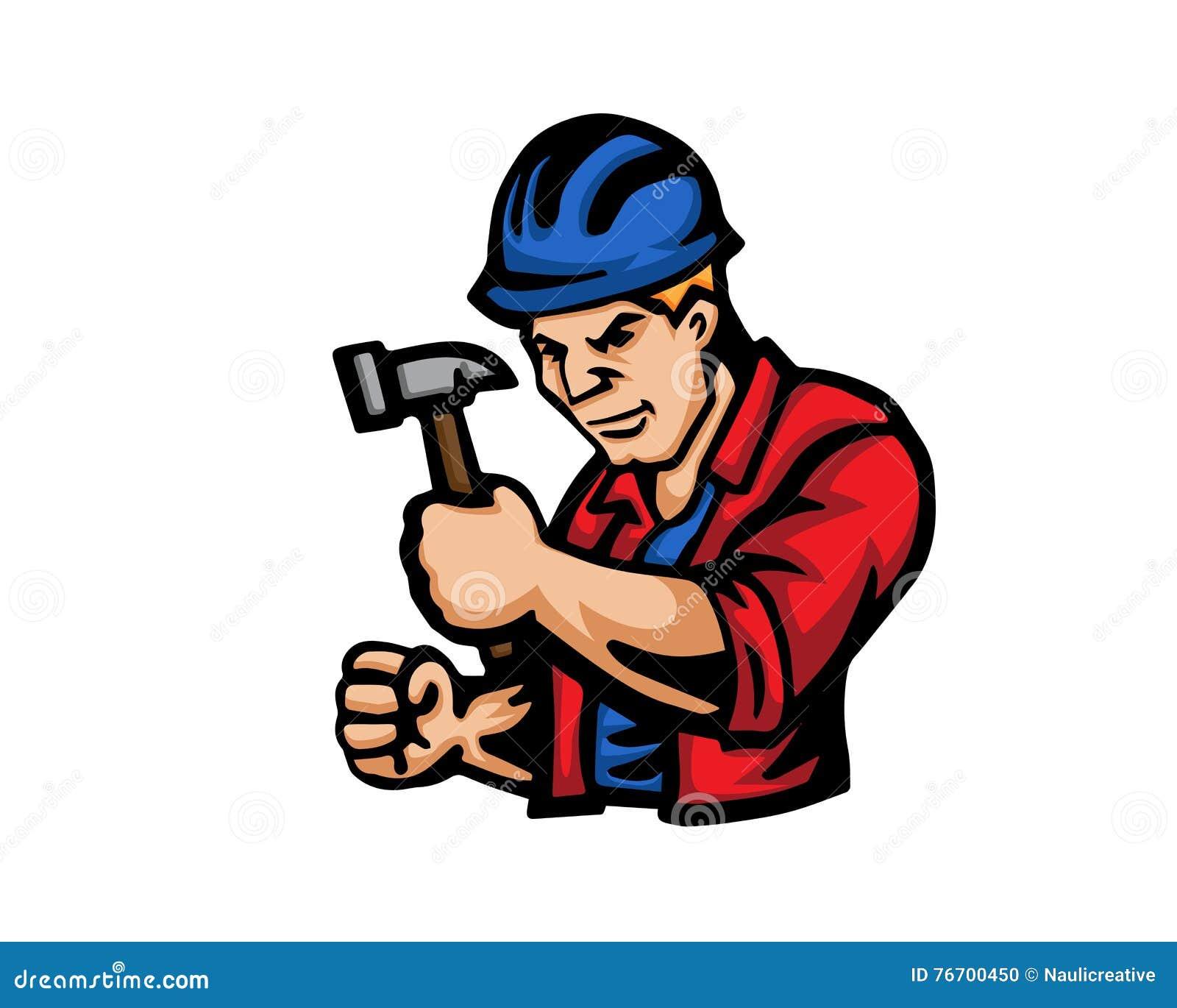 Logotipo moderno de la historieta de la gente del empleo - trabajador de construcción