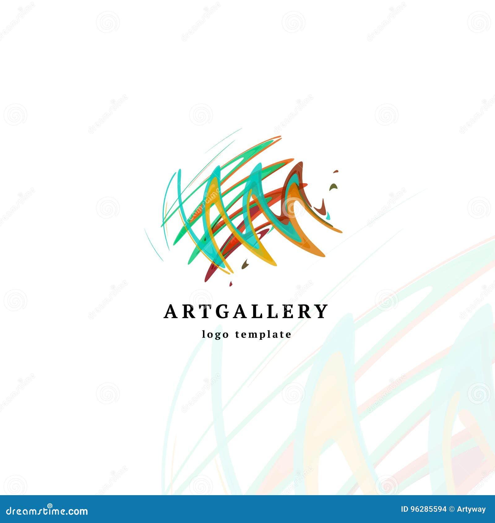 Logotipo moderno del vector de la galería de arte abstracto Logotipo aislado inusual de la imagen de la pintura Bosquejo creativo