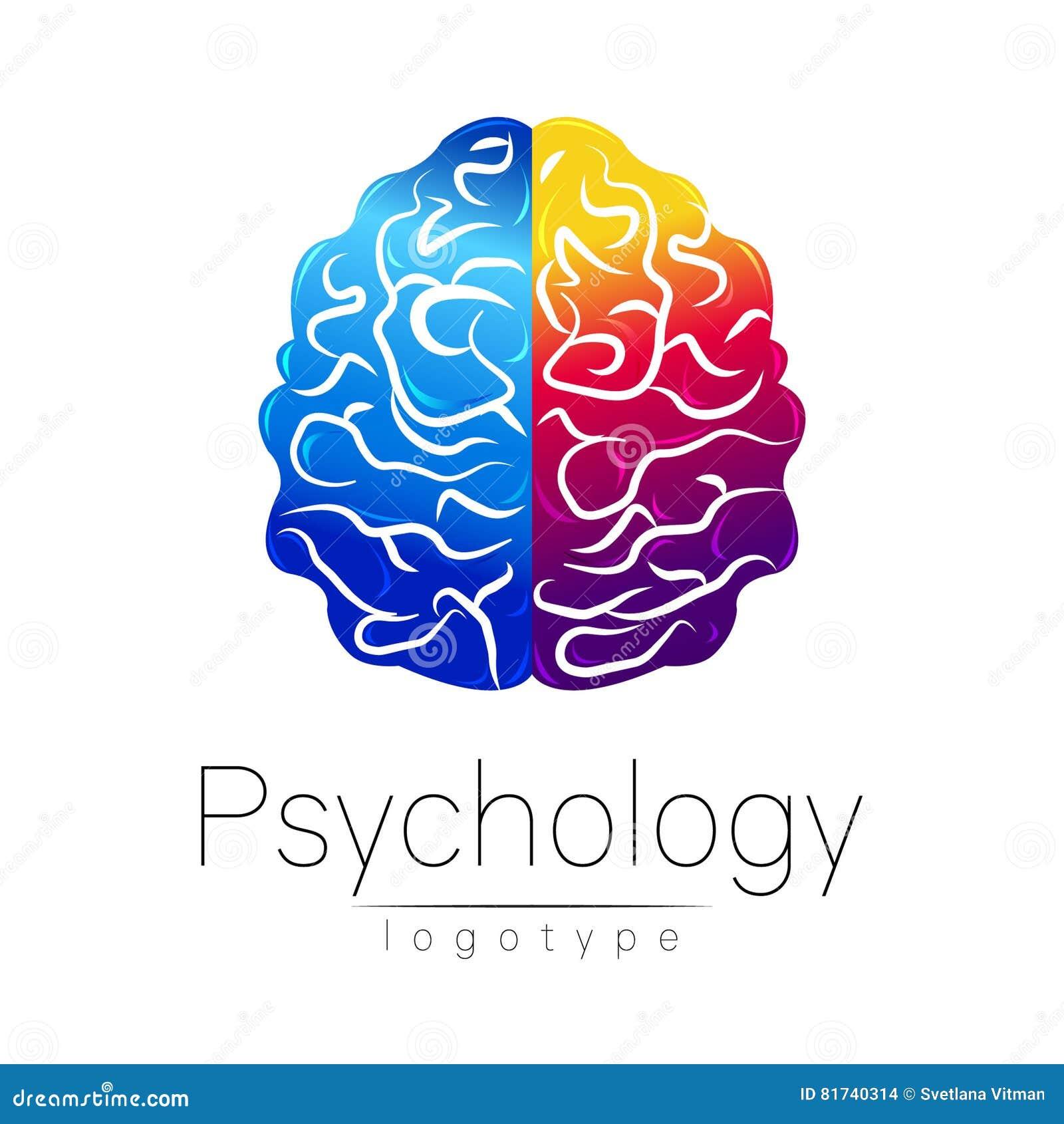 Logotipo moderno do cérebro da psicologia humano Estilo creativo Logotype no vetor Conceito de projeto Empresa do tipo Violeta az