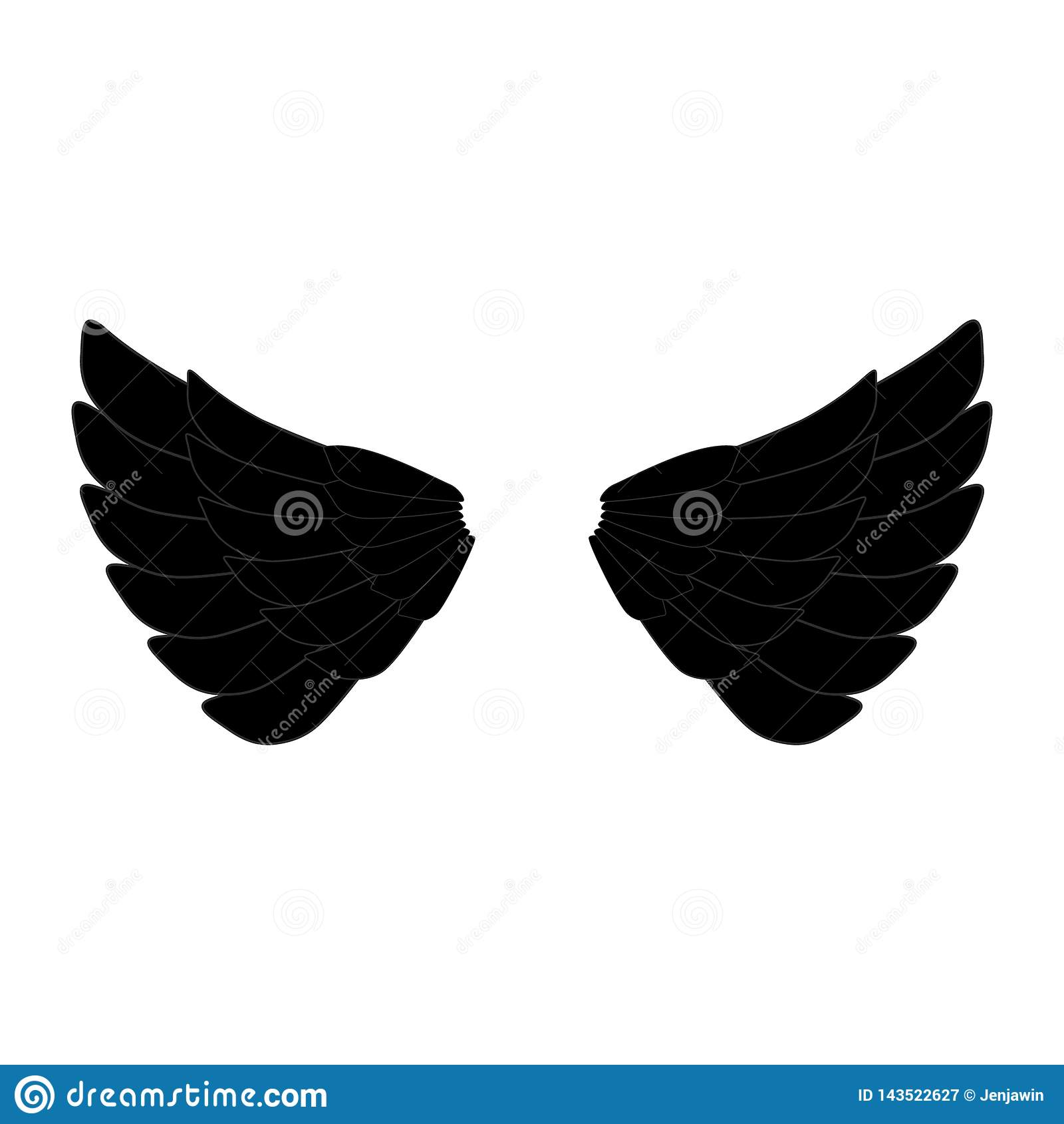 Logotipo negro de las alas del ángel o del águila Vector negro eps10 del icono de las alas del águila del ángel