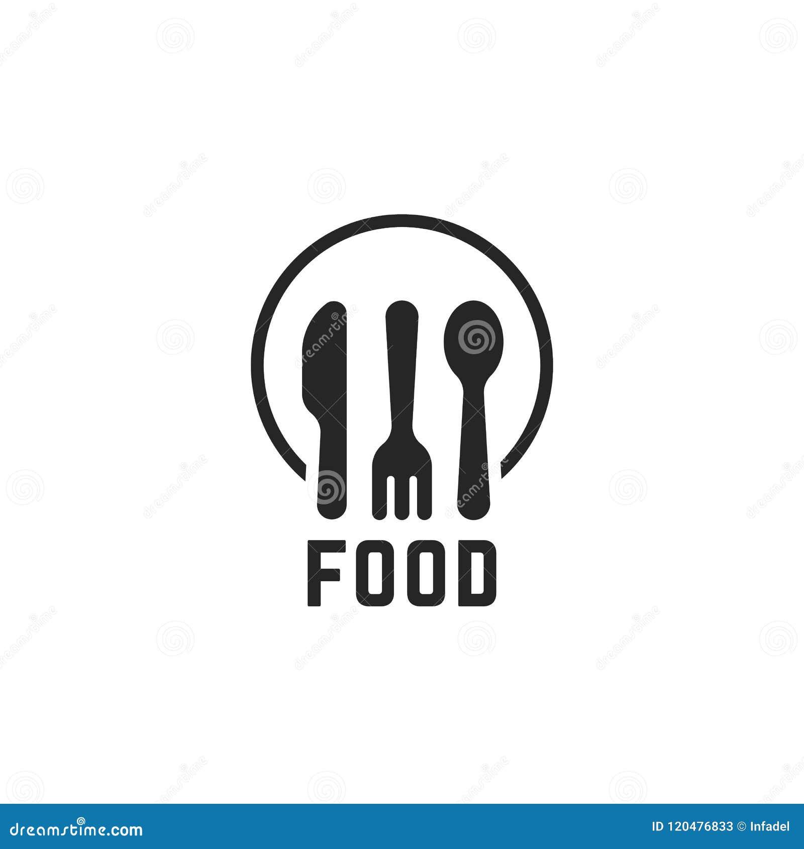 Logotipo Negro Simple De La Comida Con Articulos De Cocina