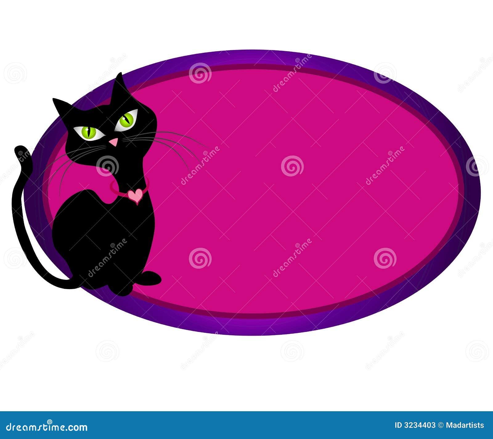 Logotipo oval felino do Web do gato preto