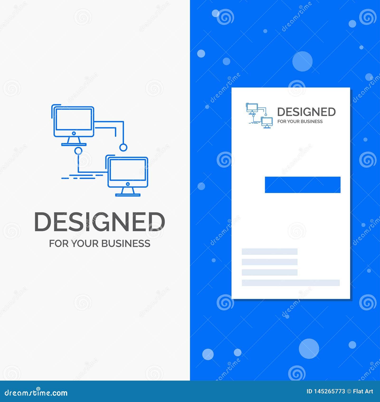 Logotipo para local, lan do neg?cio, conex?o, sincroniza??o, computador Molde azul vertical do cart?o do neg?cio/de visita