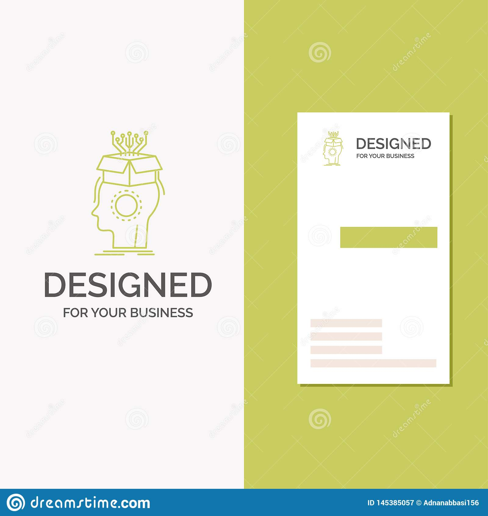 Logotipo para o sousveillance, artificial, c?rebro do neg?cio, digital, cabe?a Molde verde vertical do cart?o do neg?cio/de visit