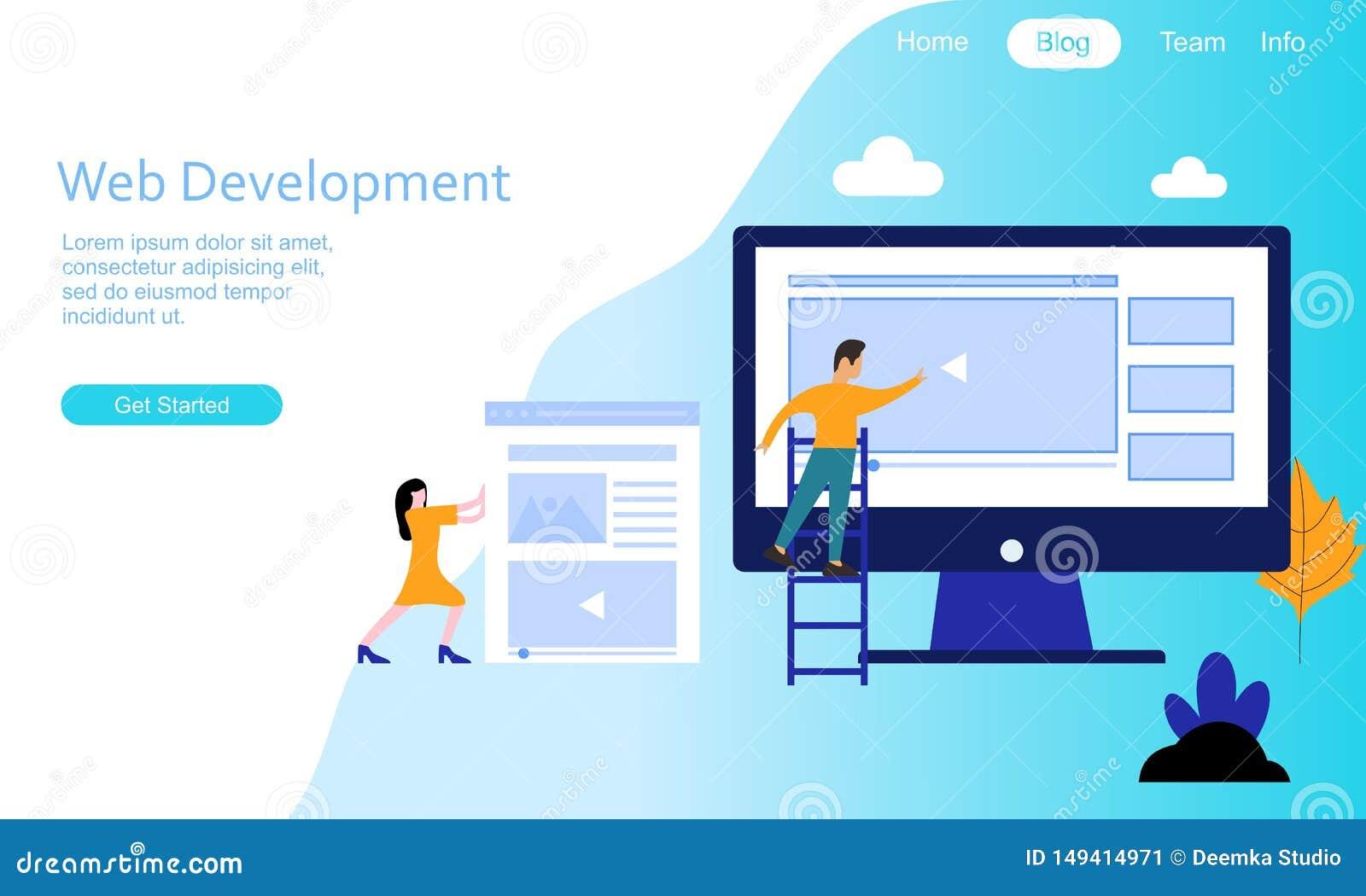 Logotipo plano del ejemplo del desarrollo web del diseño
