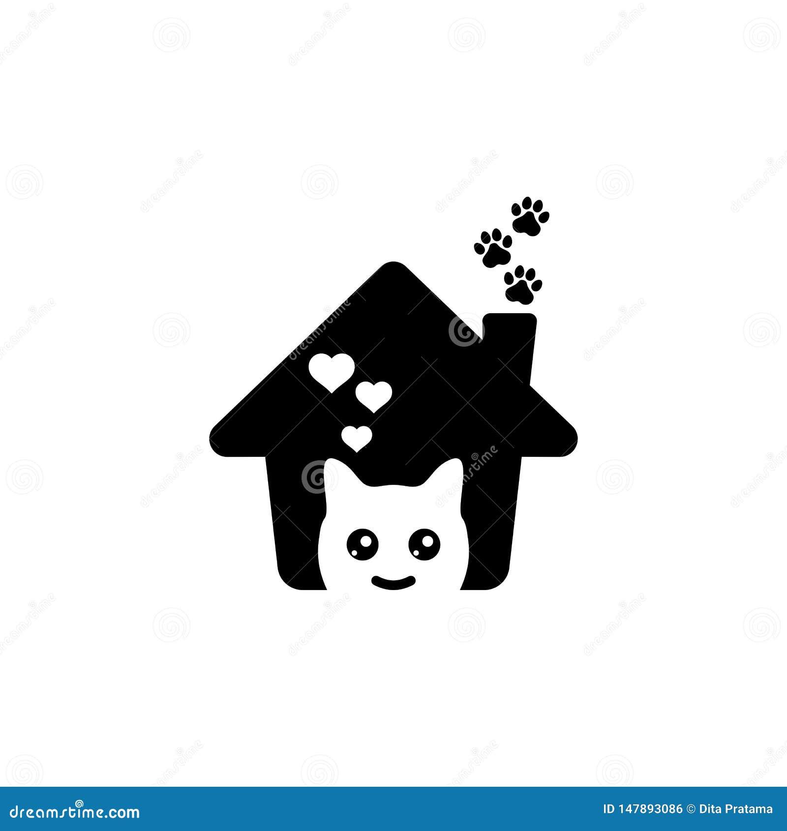 Logotipo precioso de la casa del animal doméstico