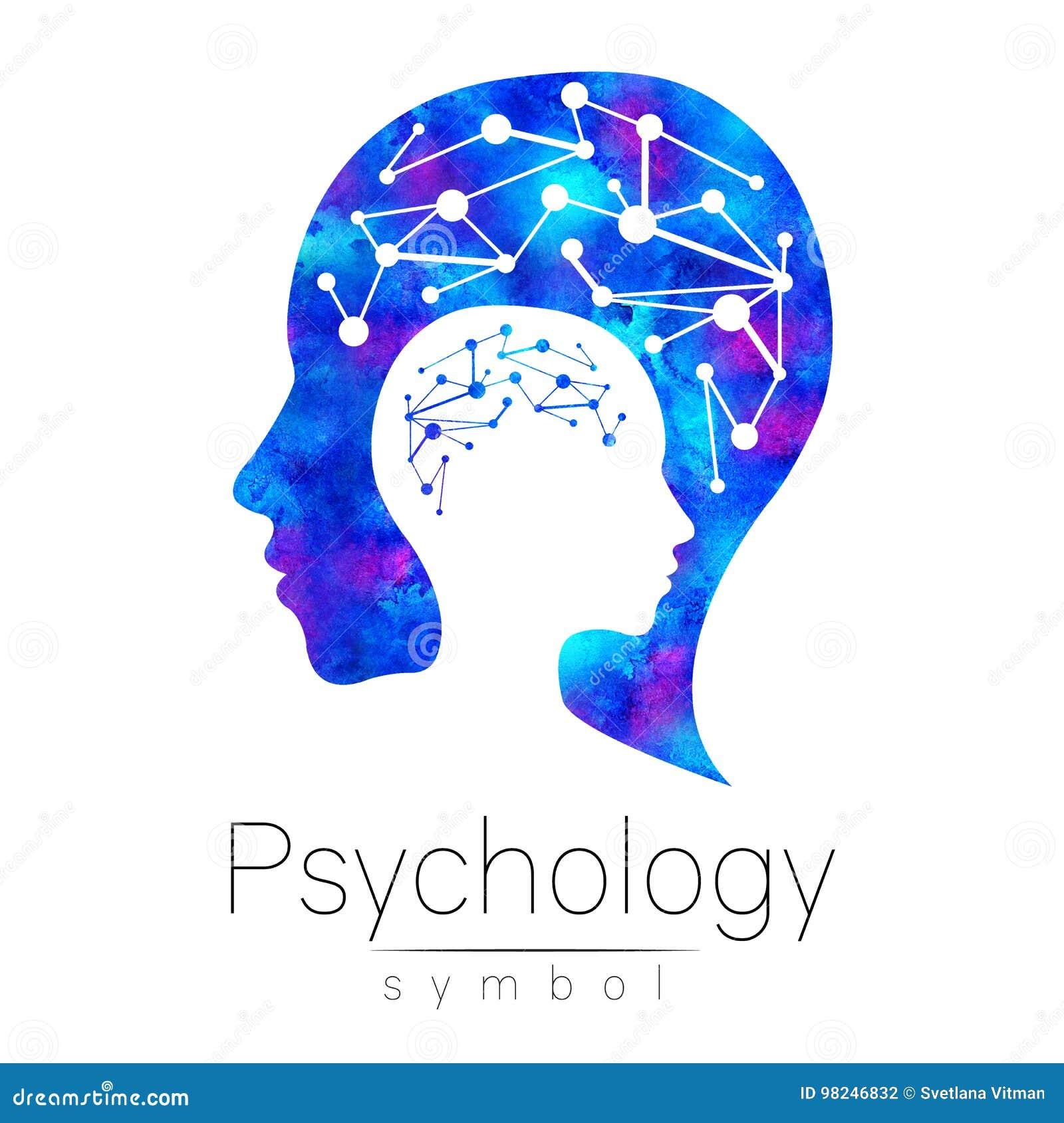 Logotipo principal moderno do sinal da psicologia Ser humano do perfil logotype Estilo creativo Símbolo dentro Conceito de projet