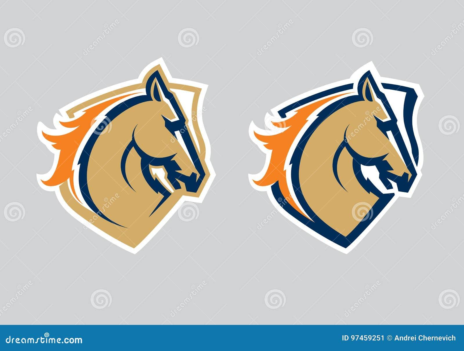 Logotipo profissional moderno com mustang para uma equipe de esporte