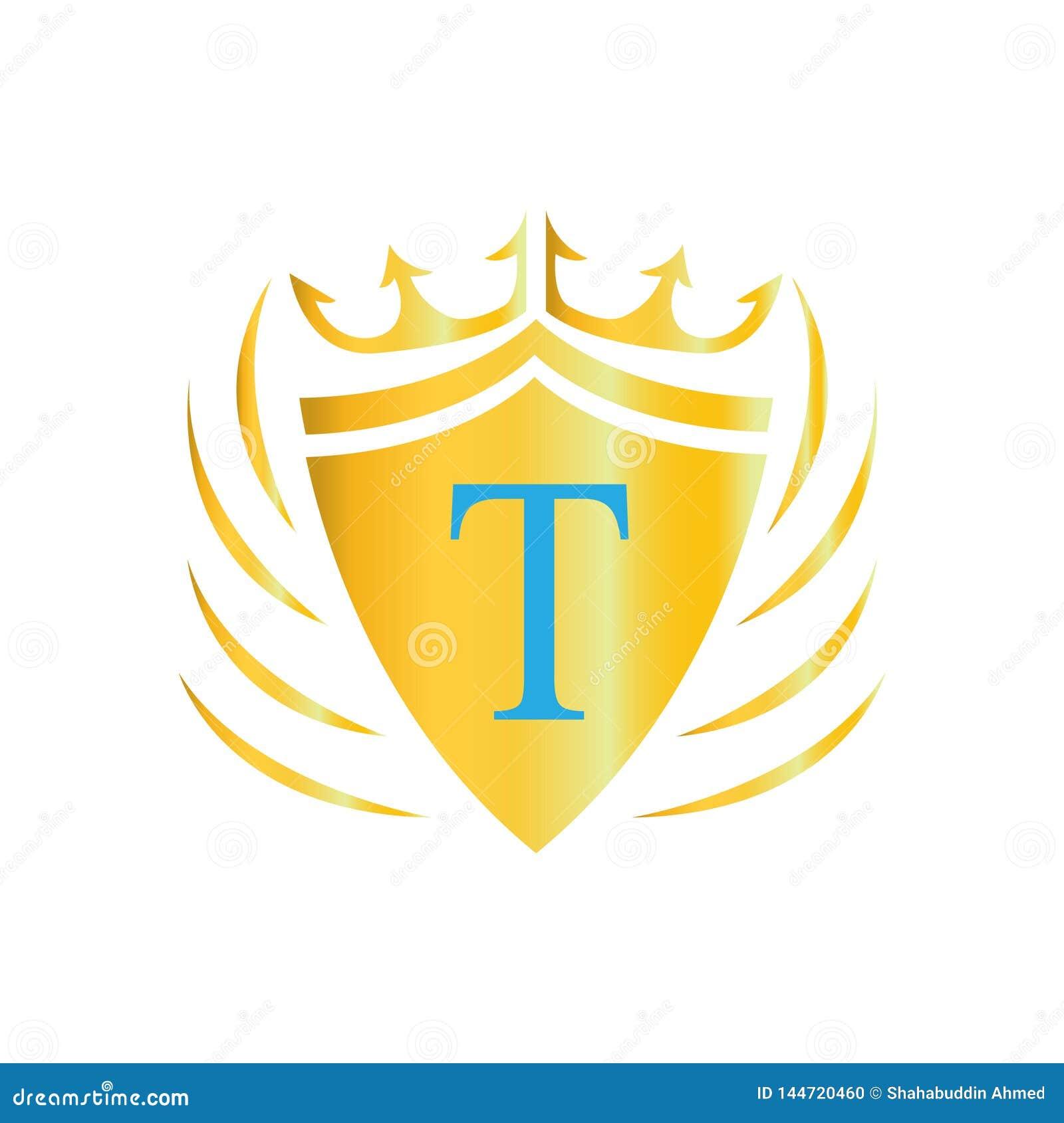 Logotipo real de la corona Insignia de la letra T Icono del vector del logotipo