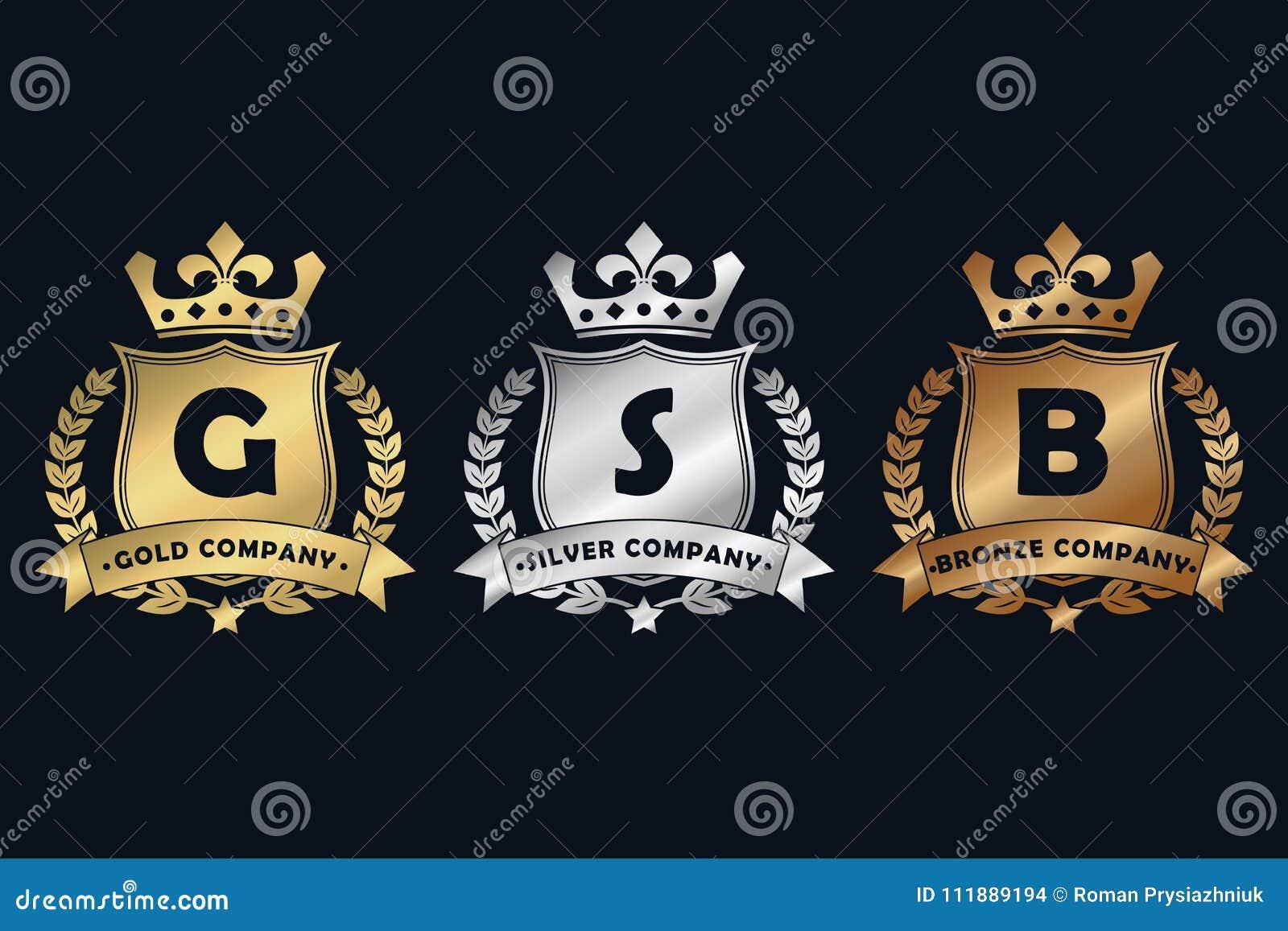 Logotipo real do ouro, do prata e o de bronze do projeto com protetor, coroa, grinalda do louro e fita Molde luxuoso do logotype
