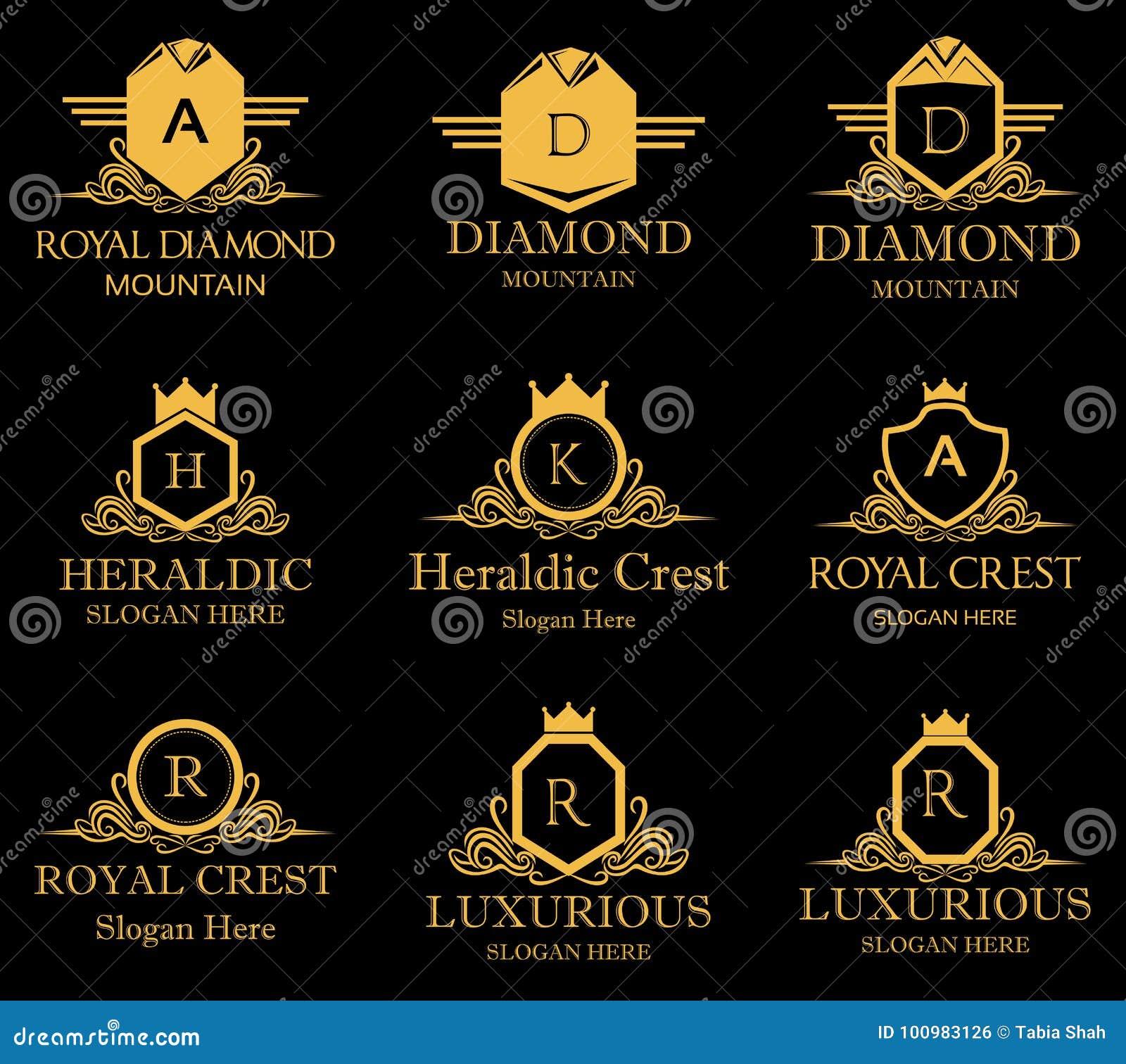 Logotipo real heráldico do vetor da crista