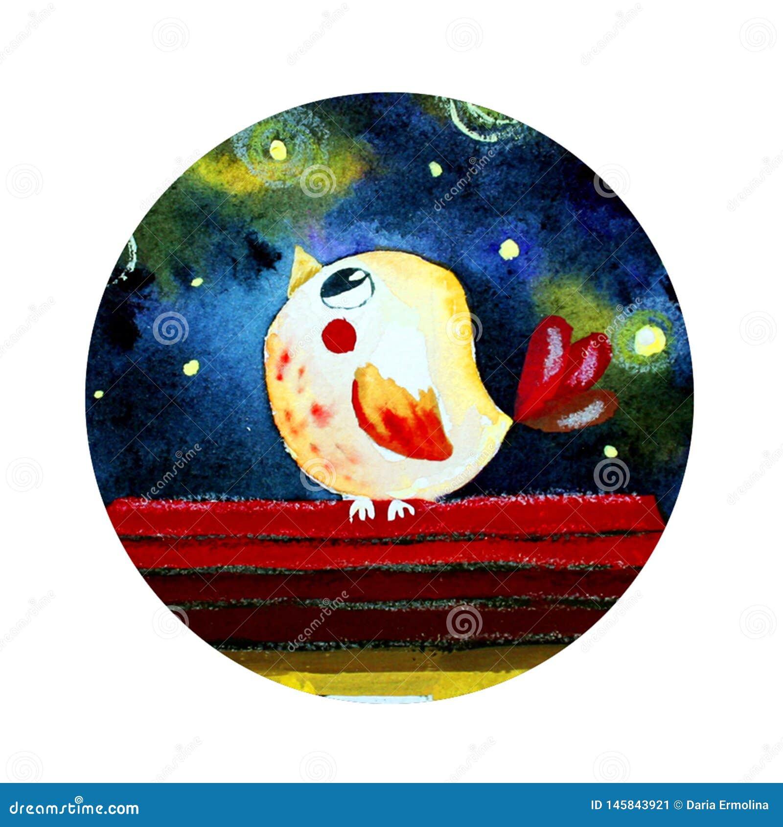 Logotipo redondo com um pássaro