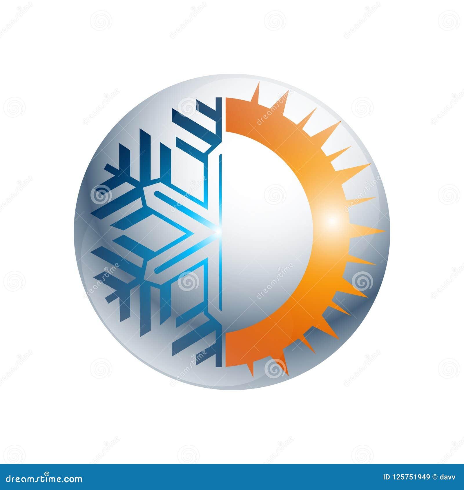 Logotipo redondo quente e frio da engrenagem do sinal Ícone do equilíbrio da temperatura Sun