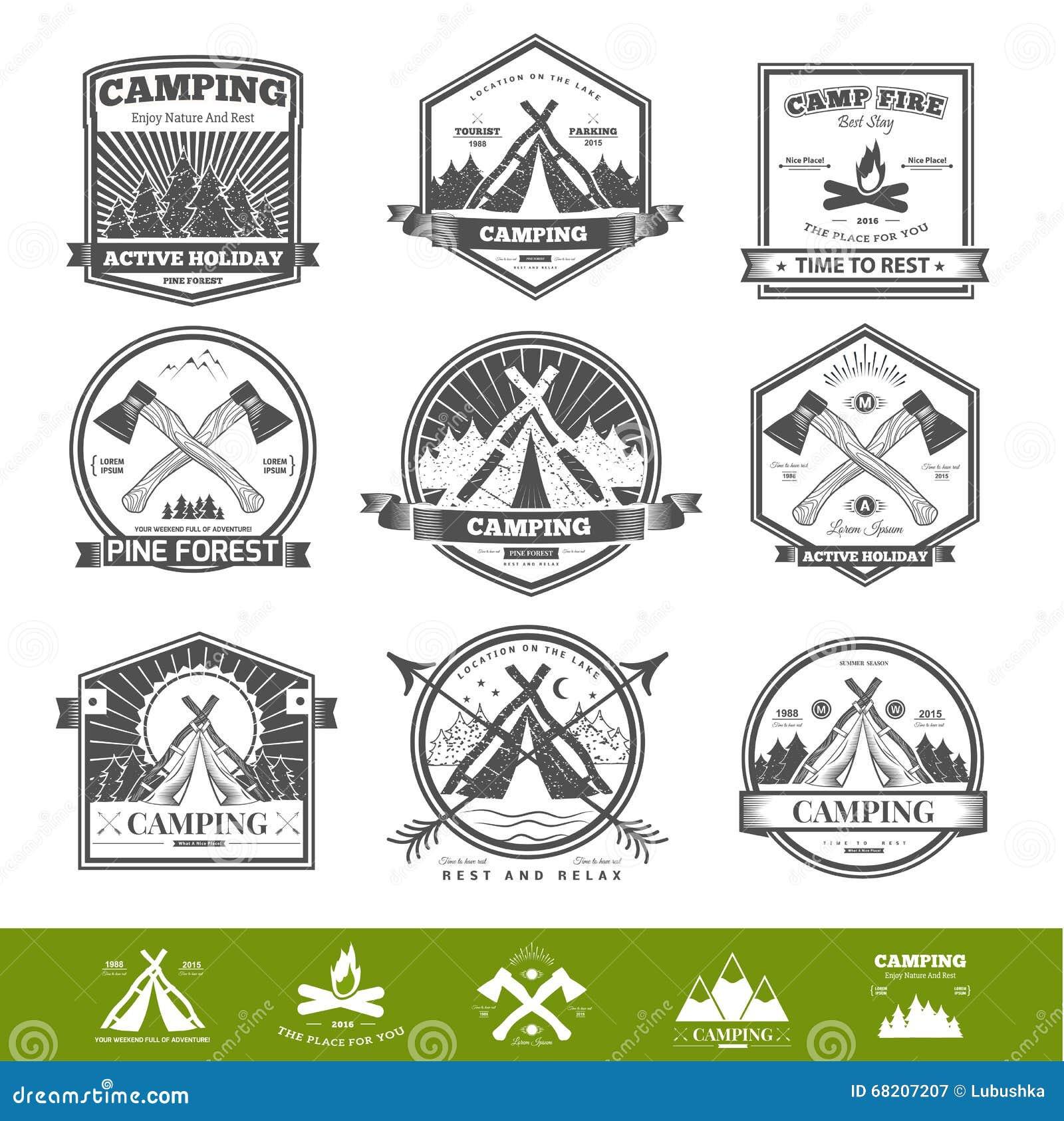 Logotipo retro de acampamento do vetor