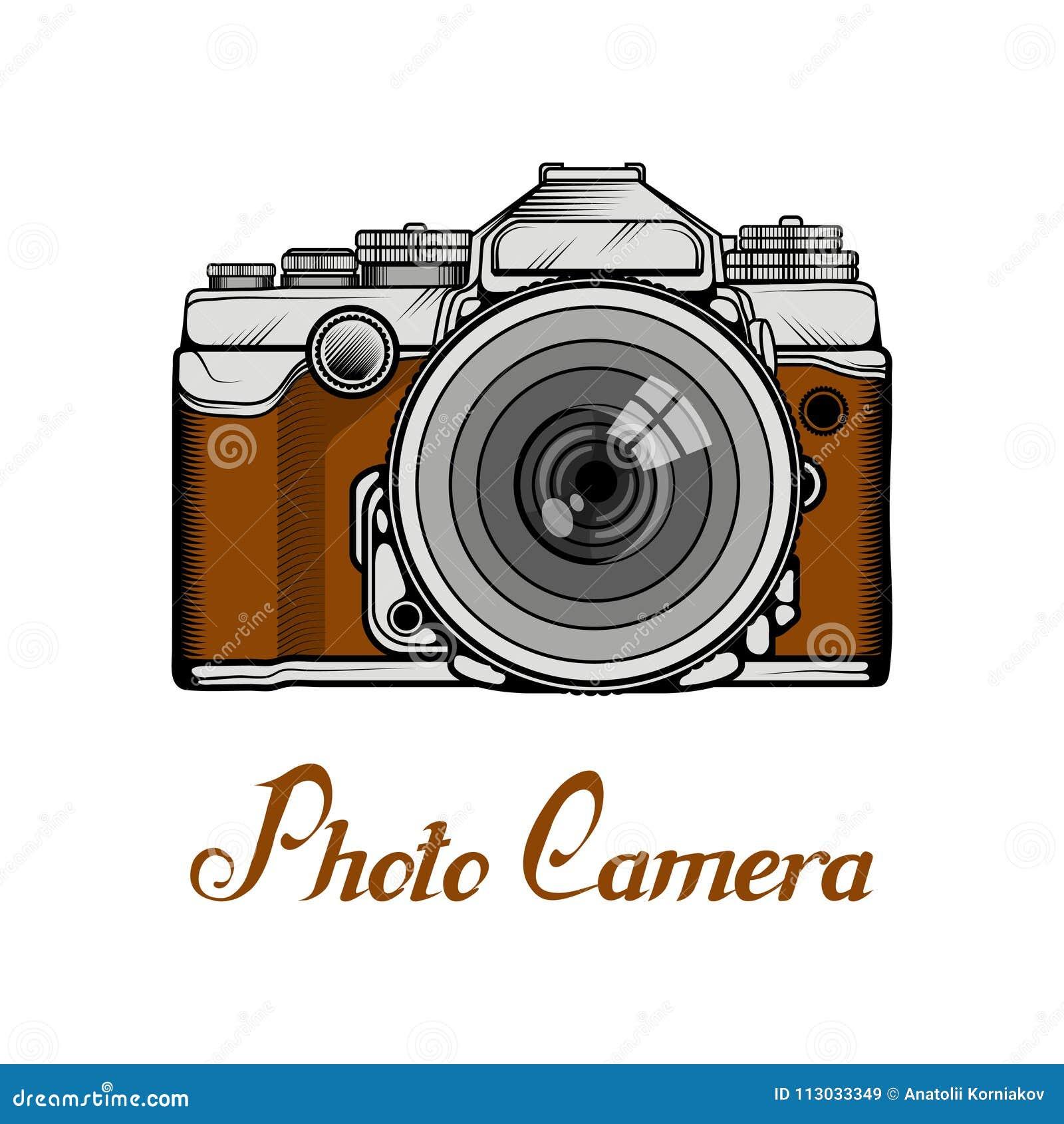 Logotipo retro de la cámara Photocamera del vintage