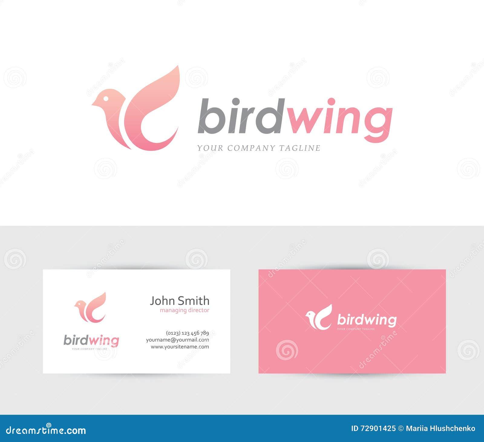 Logotipo rosado del pájaro