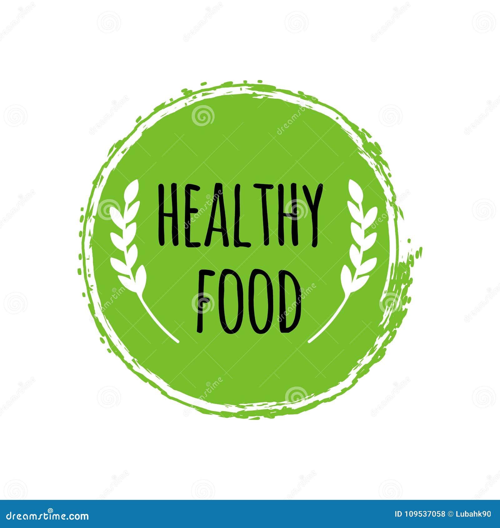 Logotipo saudável do alimento Escova verde do círculo Crachá do vegetariano