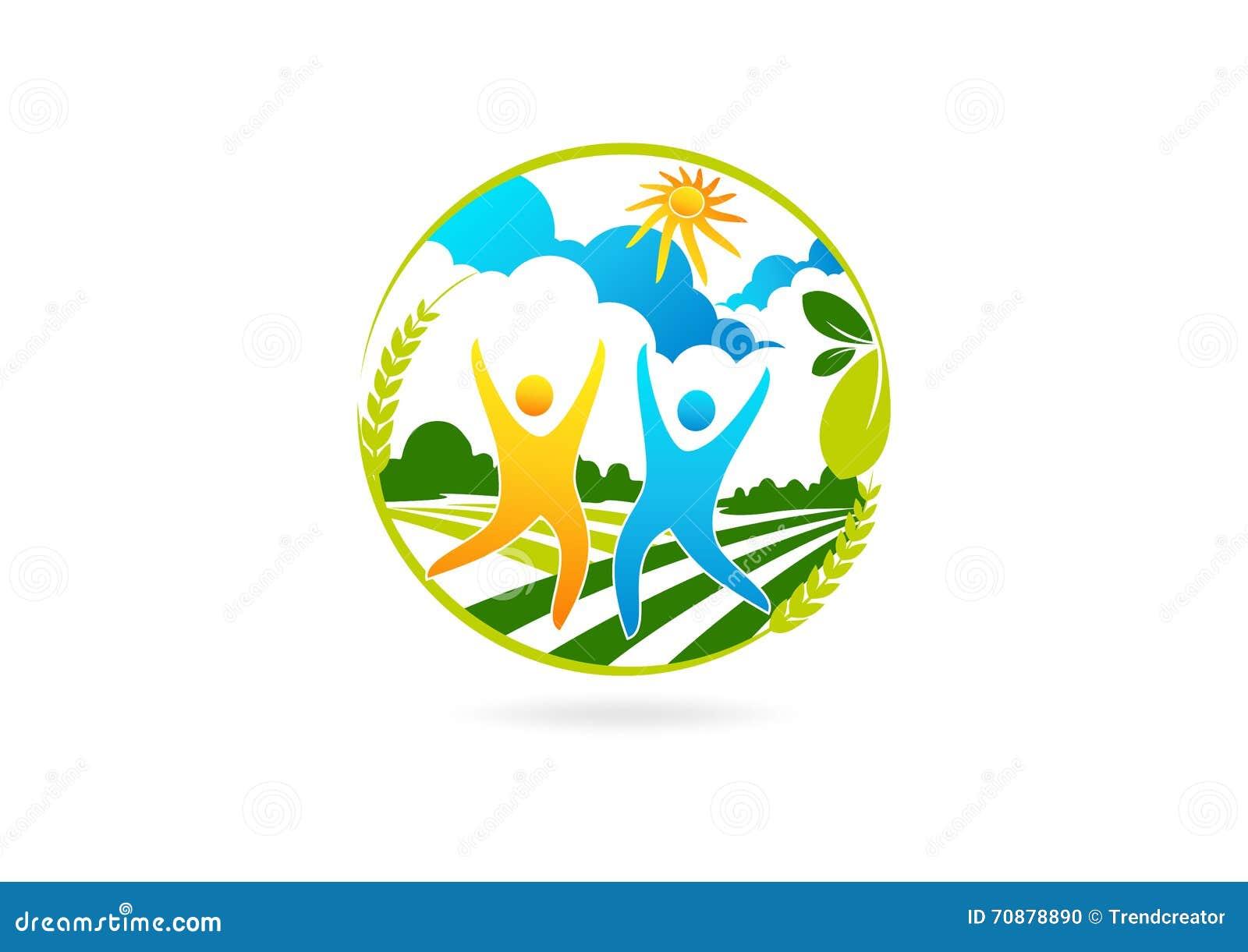 Logotipo saudável dos povos, símbolo da exploração agrícola do sucesso, ícone da parceria da natureza e projeto de conceito feliz
