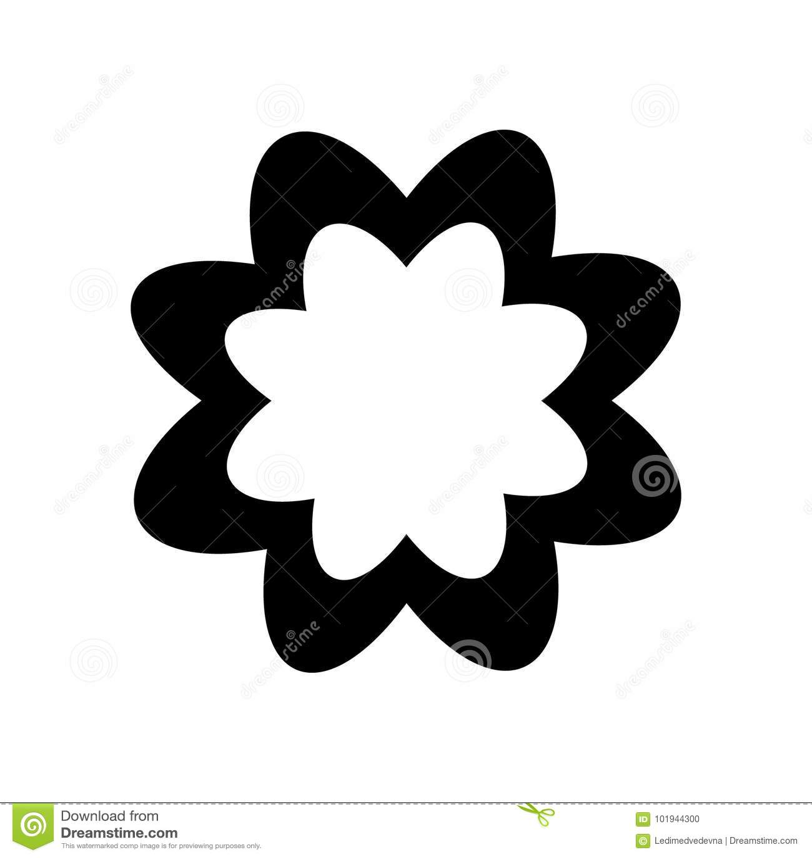 Logotipo Sob A Forma De Uma Silhueta Preta De Uma Flor Com Petalas