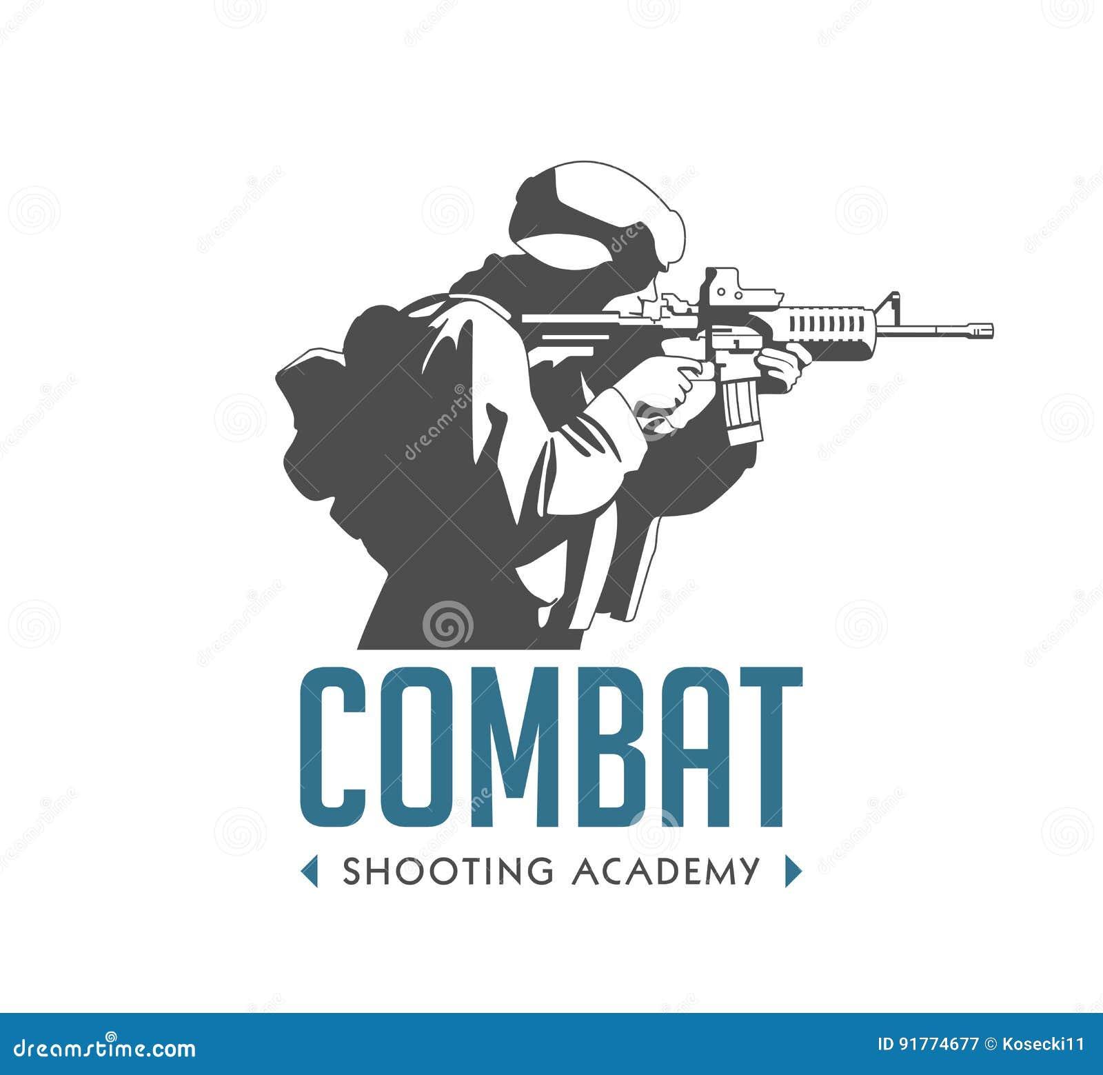 Logotipo - soldado con el rifle automático