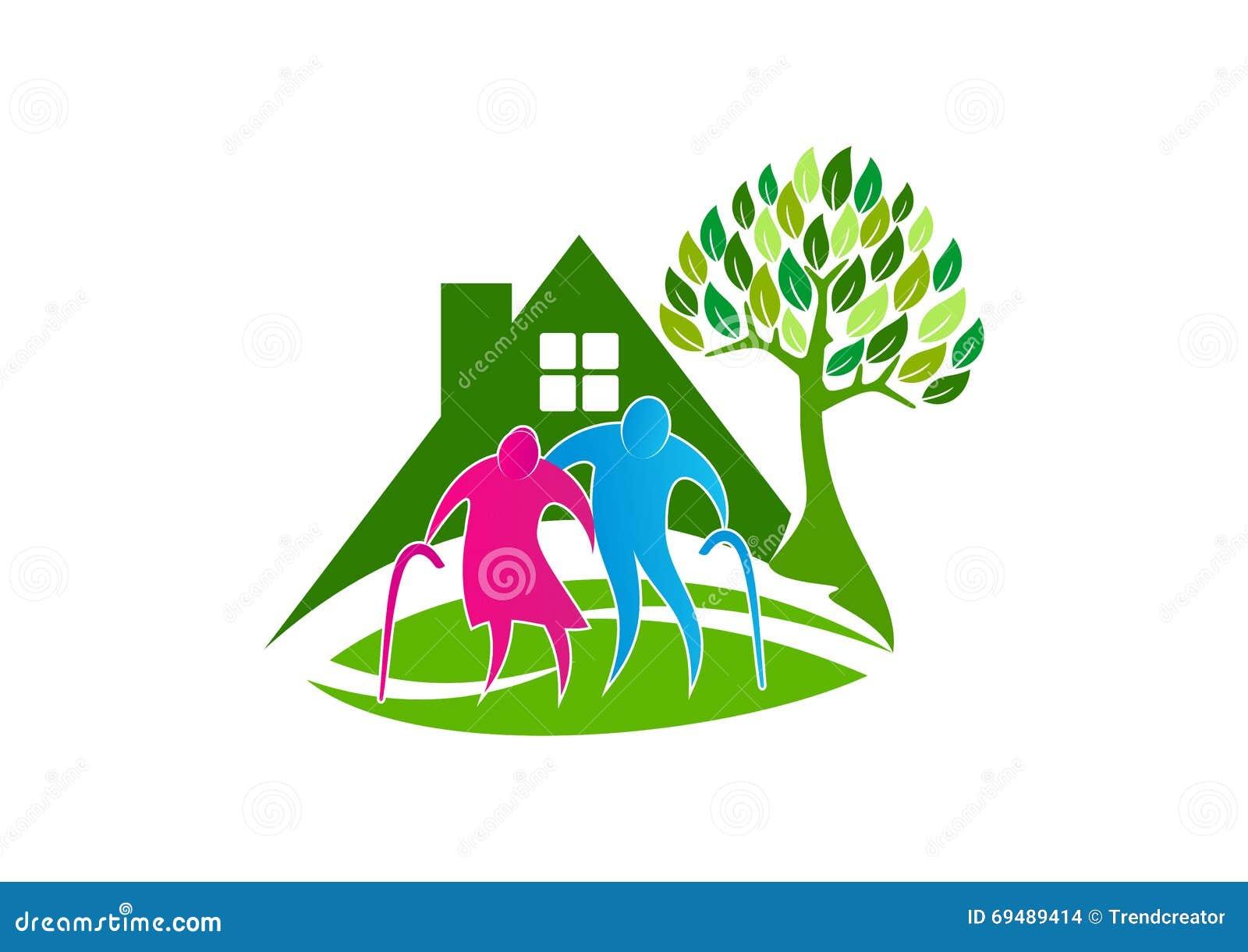 Logotipo superior do cuidado, ícone do símbolo dos povos mais idosos, projeto de conceito saudável do lar de idosos