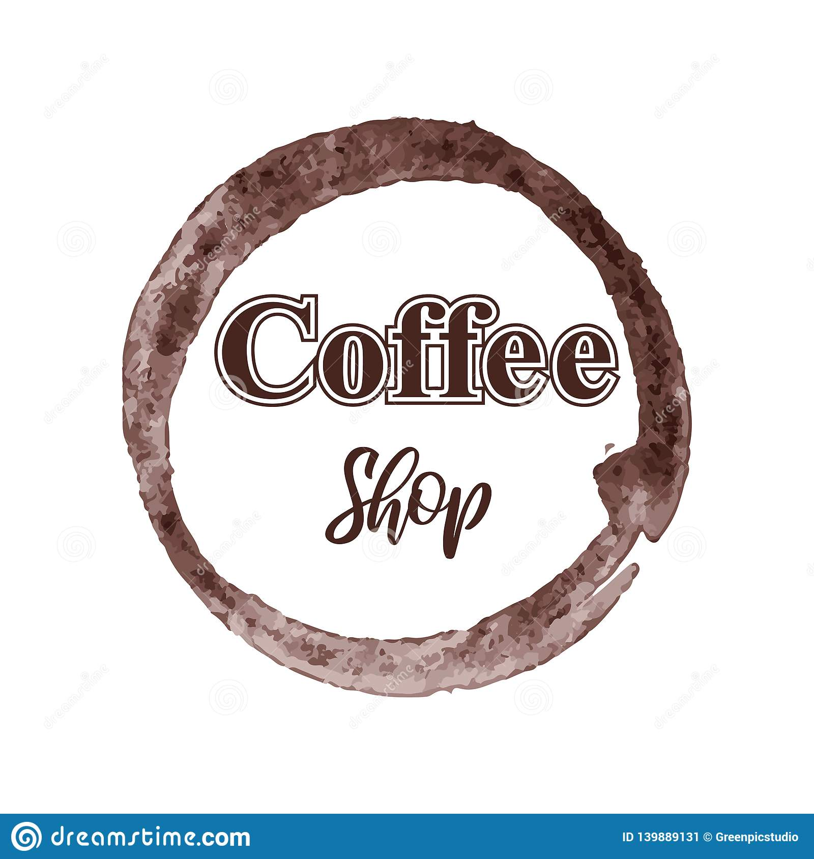 Logotipo temático de la cafetería aislado en el fondo blanco