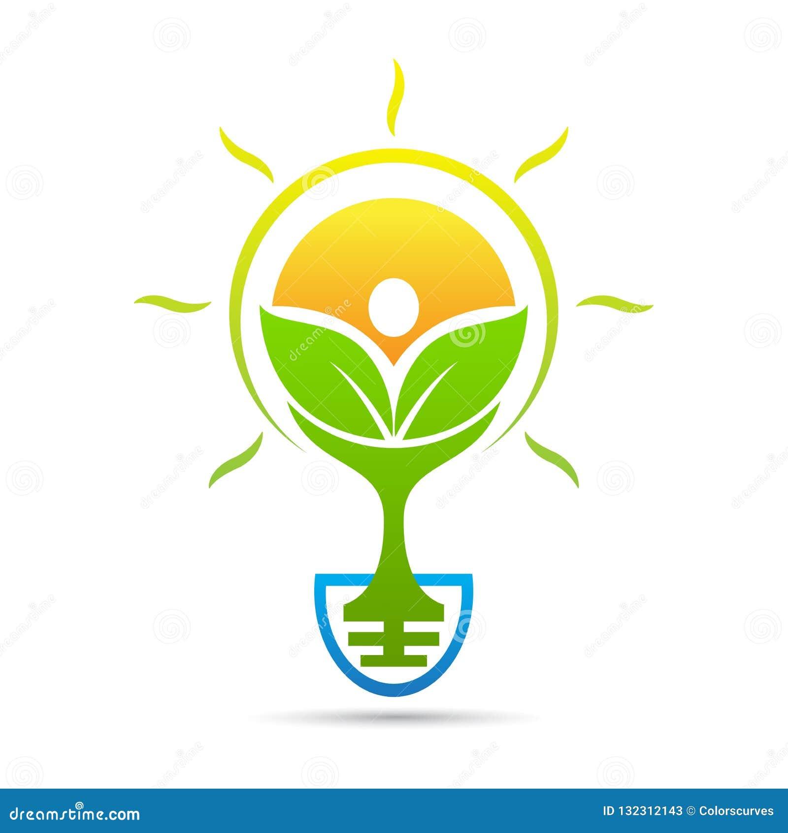 Logotipo verde amistoso del bulbo de la idea de Eco