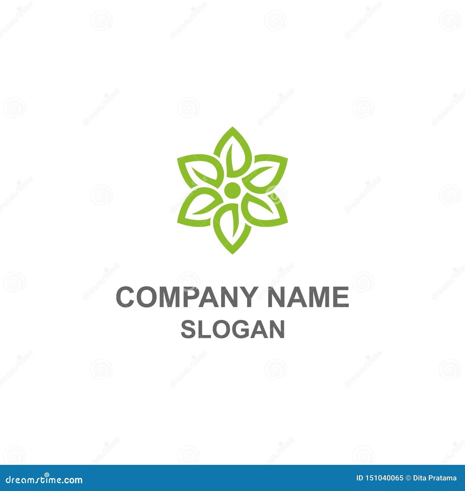 Logotipo verde da flor da folha