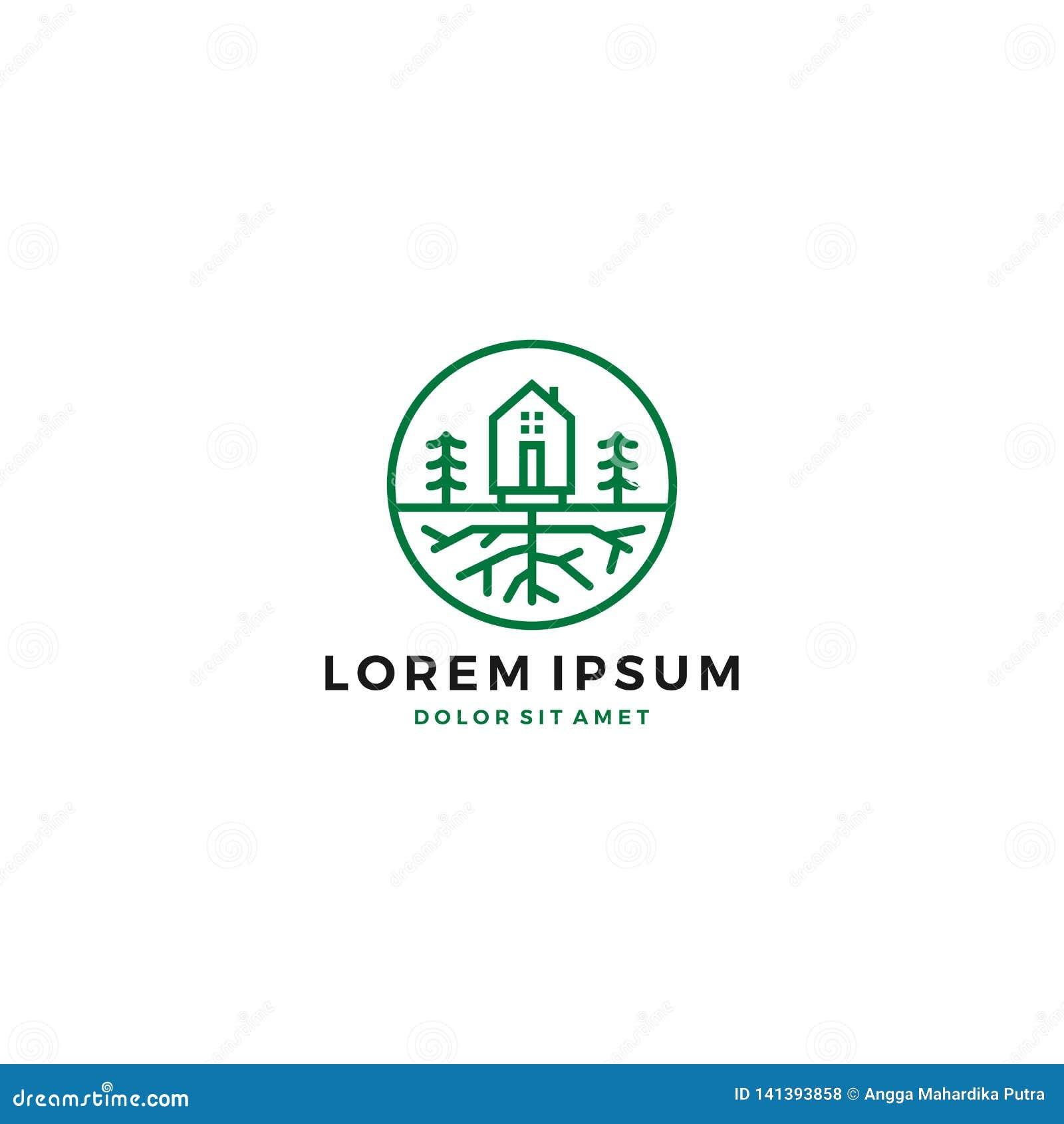 Logotipo verde de la raíz del árbol del jardín