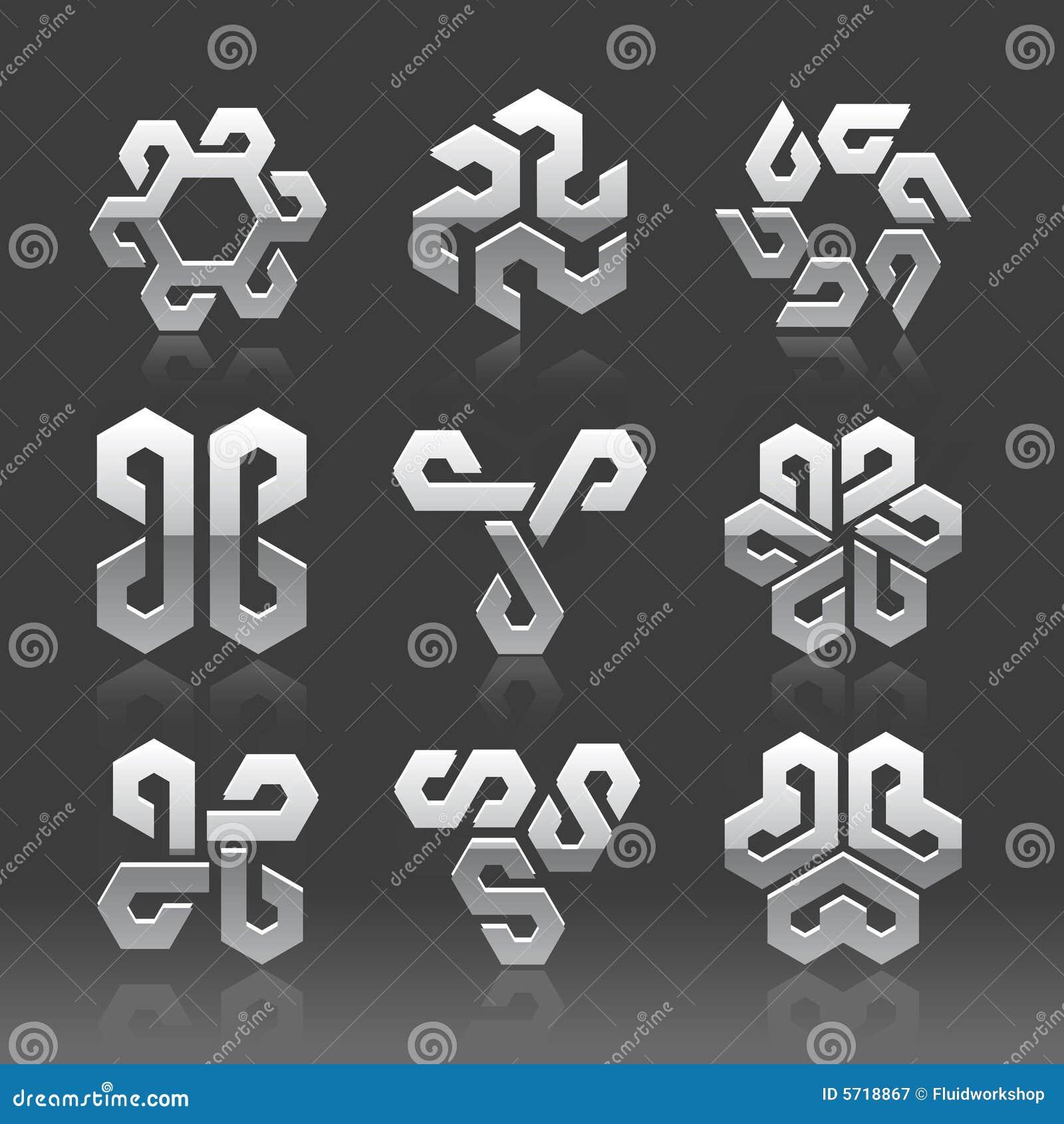 Logotipos abstratos do vetor