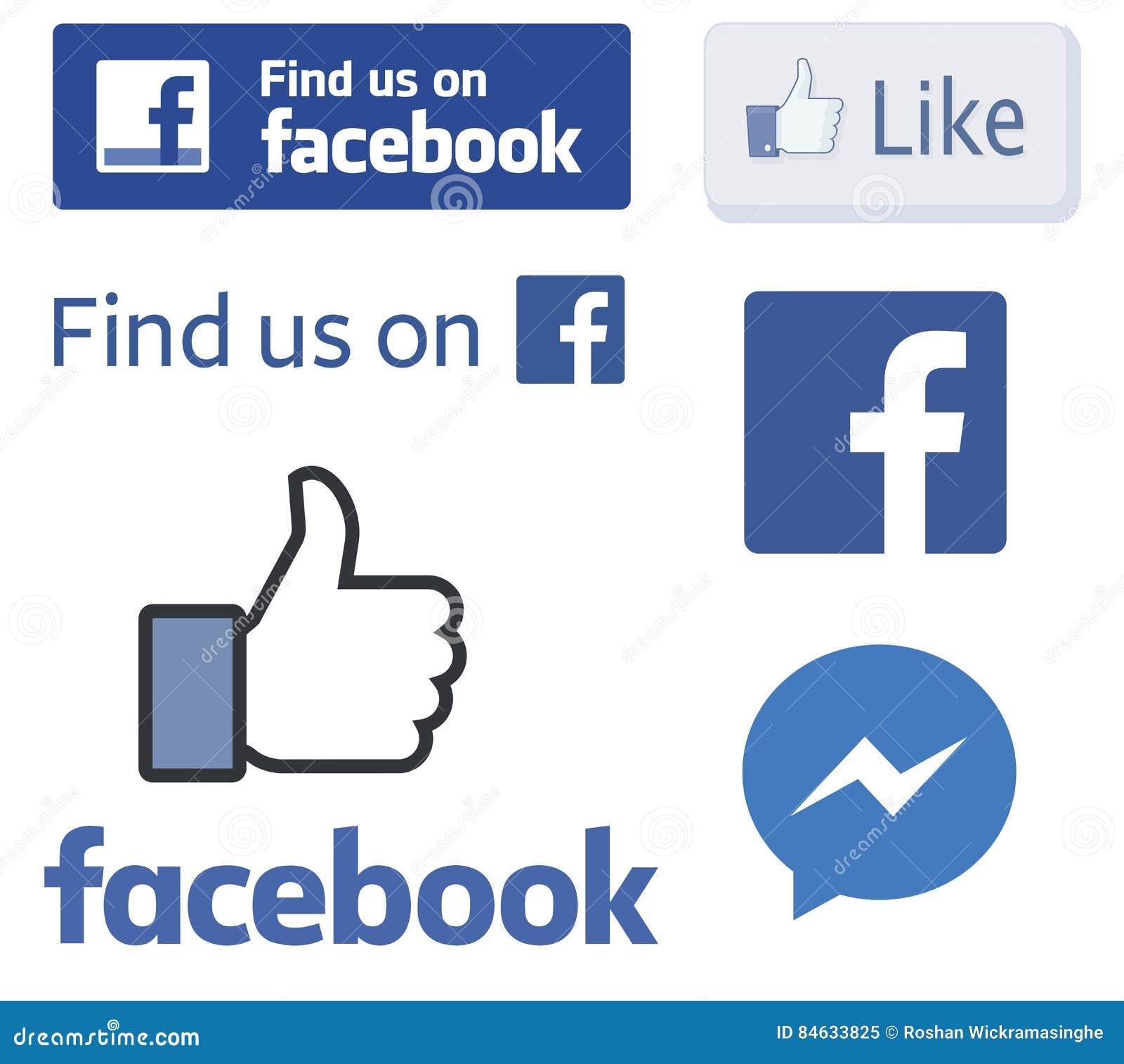 Logotipos de Facebook e como vetores do polegar