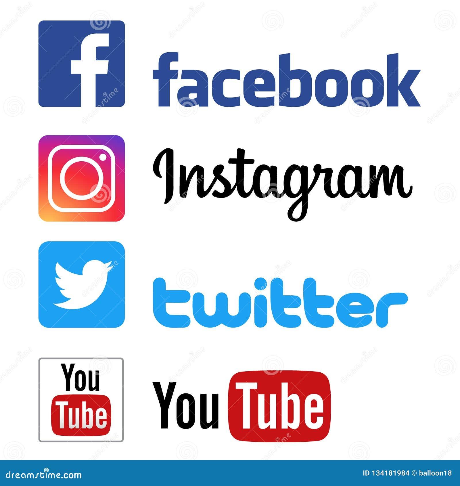 Logotipos de youtube del gorjeo del instagram de Facebook