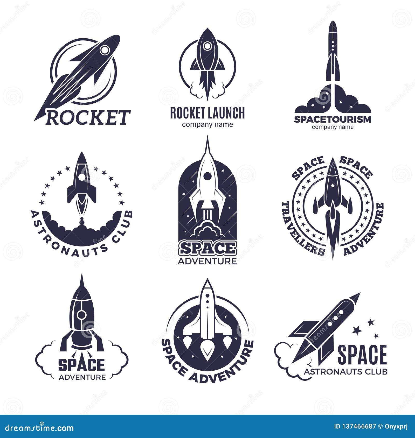 Logotipos del espacio Rockets y imágenes monocromáticas del vector retro de las insignias del negocio del descubrimiento de la lu