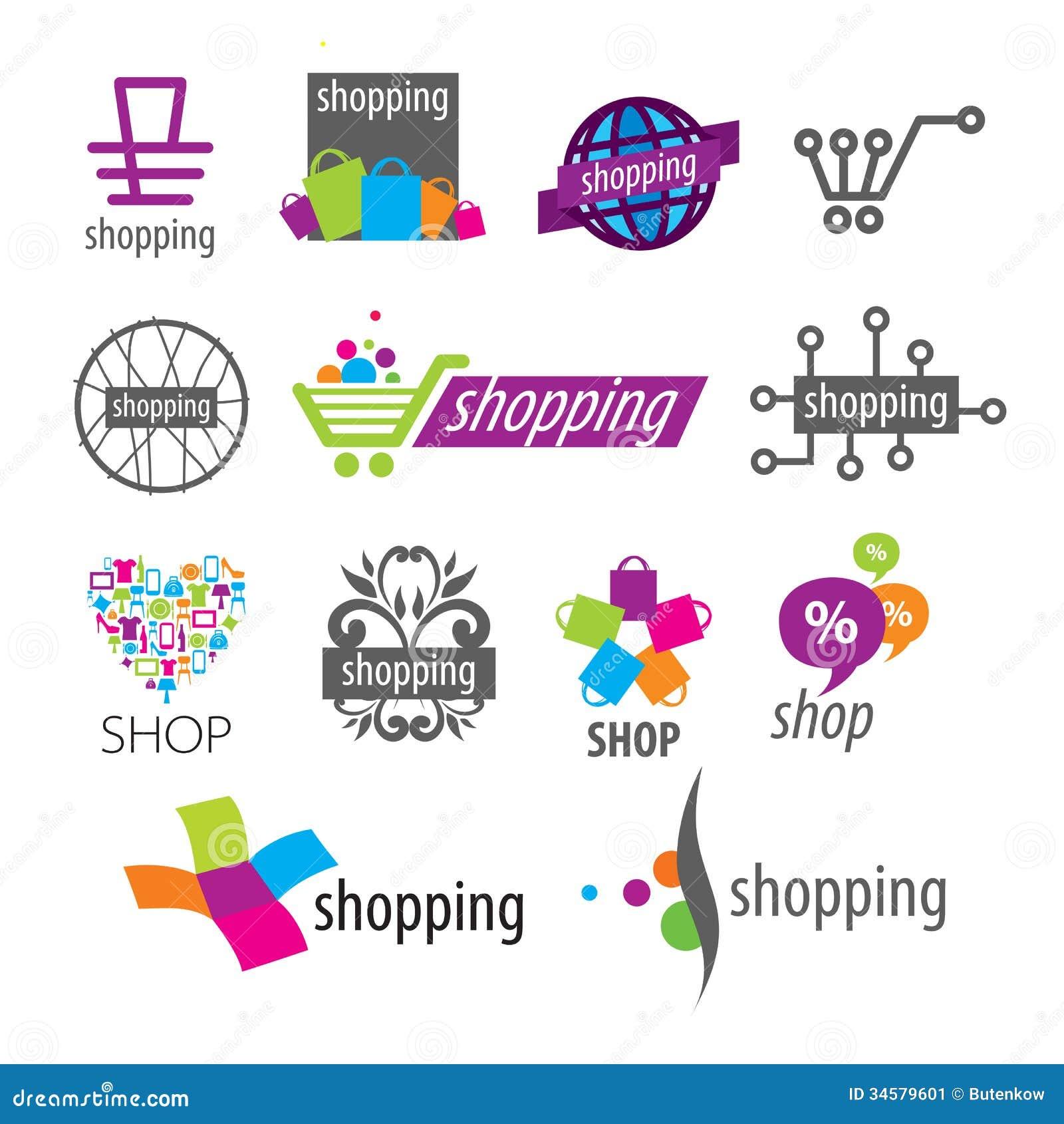 Logotipos del vector y descuentos de las compras