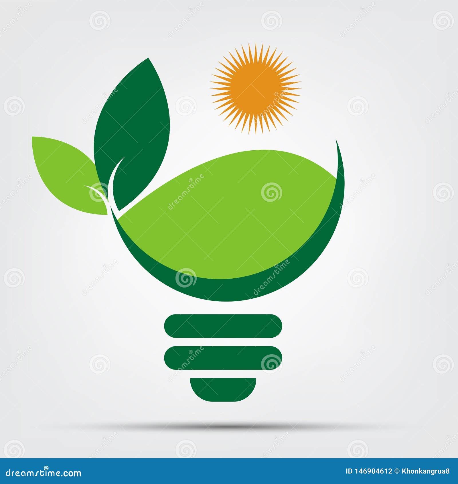 Logotipos do bulbo da ecologia do símbolo do verde com ícone do elemento do sol e da natureza das folhas no fundo branco Ilustrad