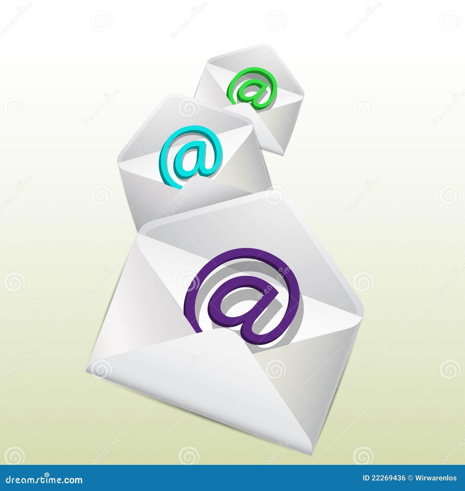 Logotipos do email dentro dos envelopes.