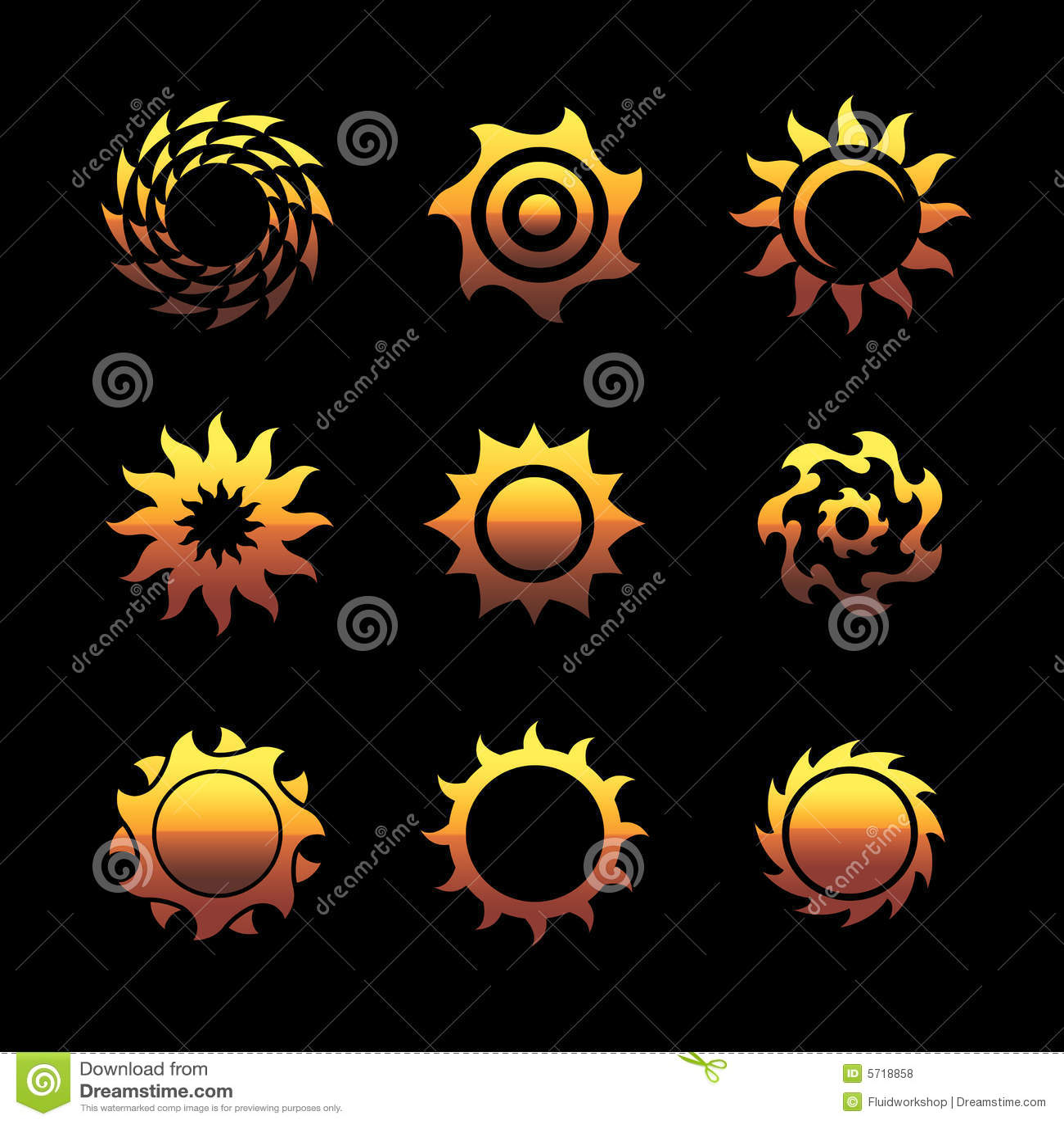 Logotipos do sol do vetor