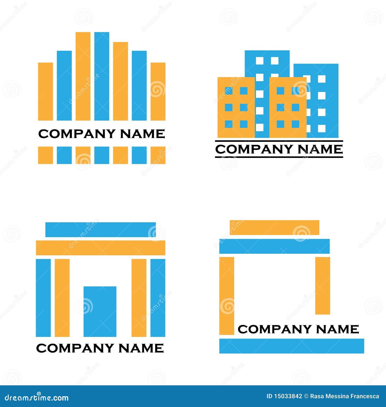 Logotipos dos bens imobiliários - azul e laranja