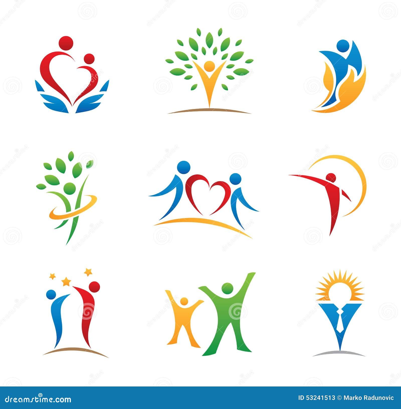 Logotipos e ícones felizes dos povos