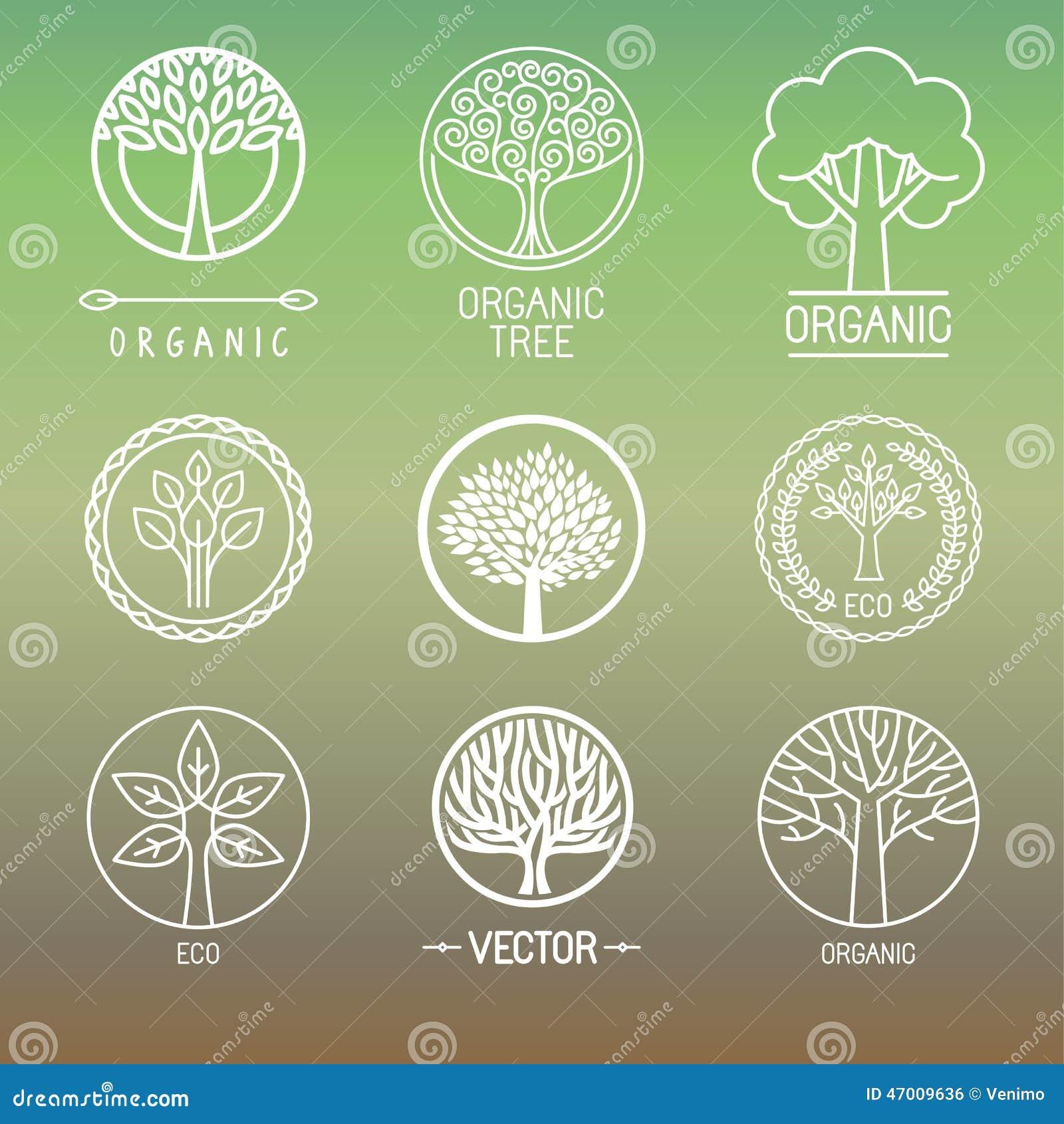 Logotipos e crachás da árvore do vetor