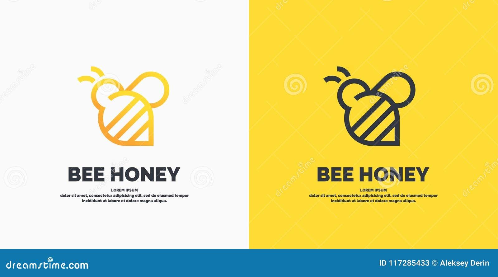 Logotipos lineares modernos para apicultor As etiquetas nos produtos do apiário Etiqueta do vetor para o mel da abelha