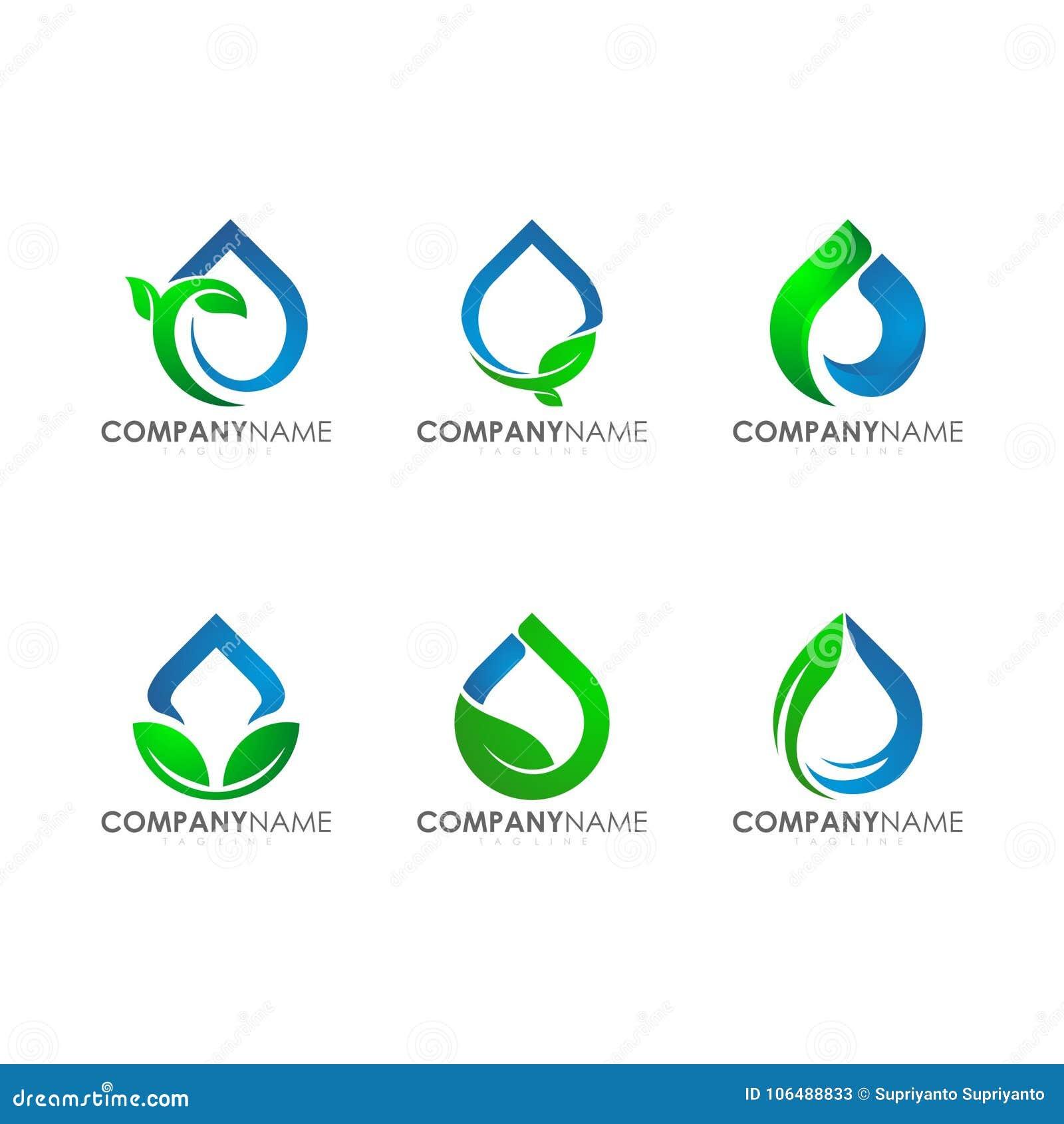 Logotipos modernos para a folha industrial Logo Set da planta da gota da água da agricultura da tecnologia da empresa